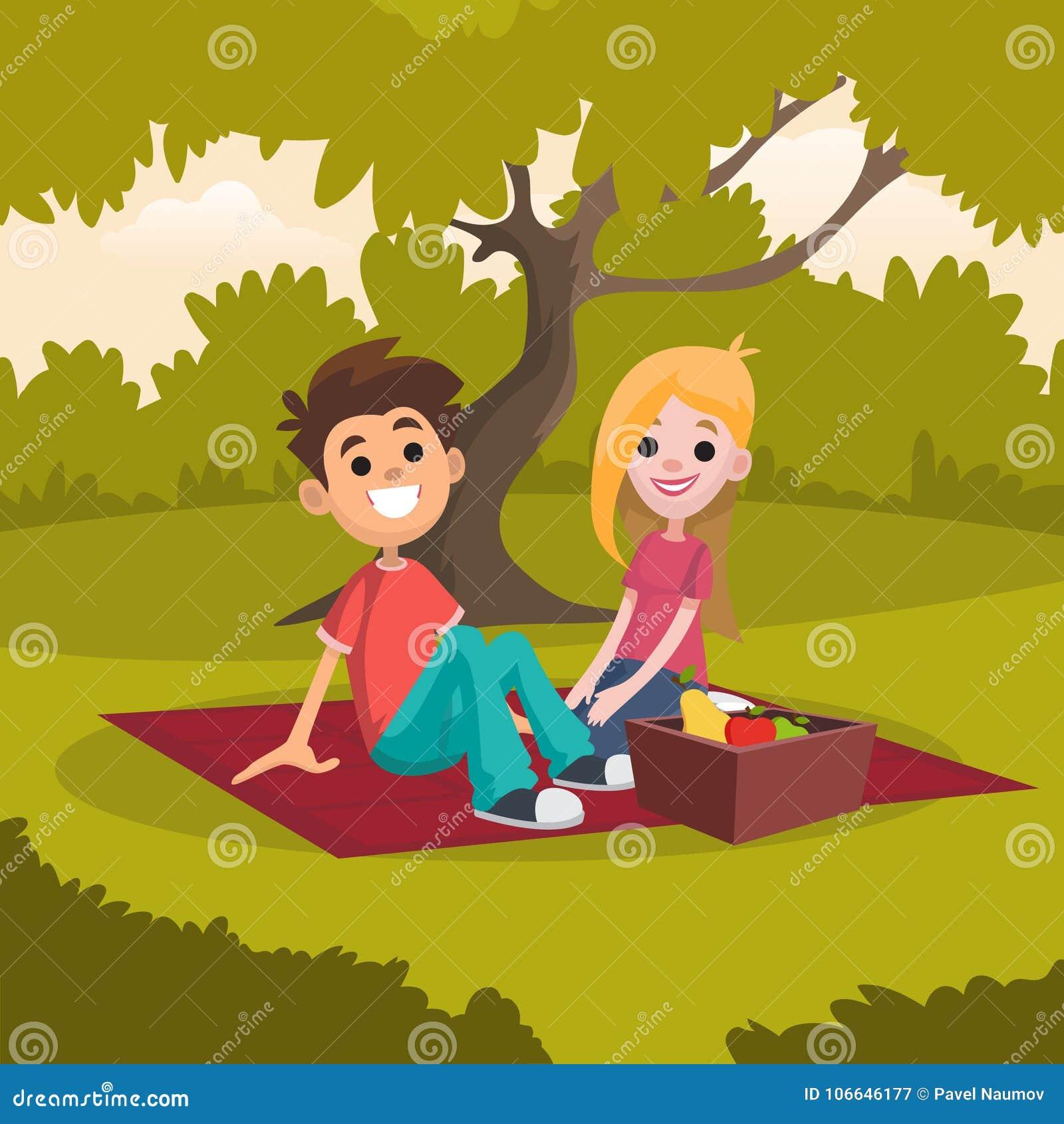 Ungt lyckligt parsammanträde på picknickfilten parkerar in Romantiskt datum på naturen Vila i öppen luft Tecknad filmfolk