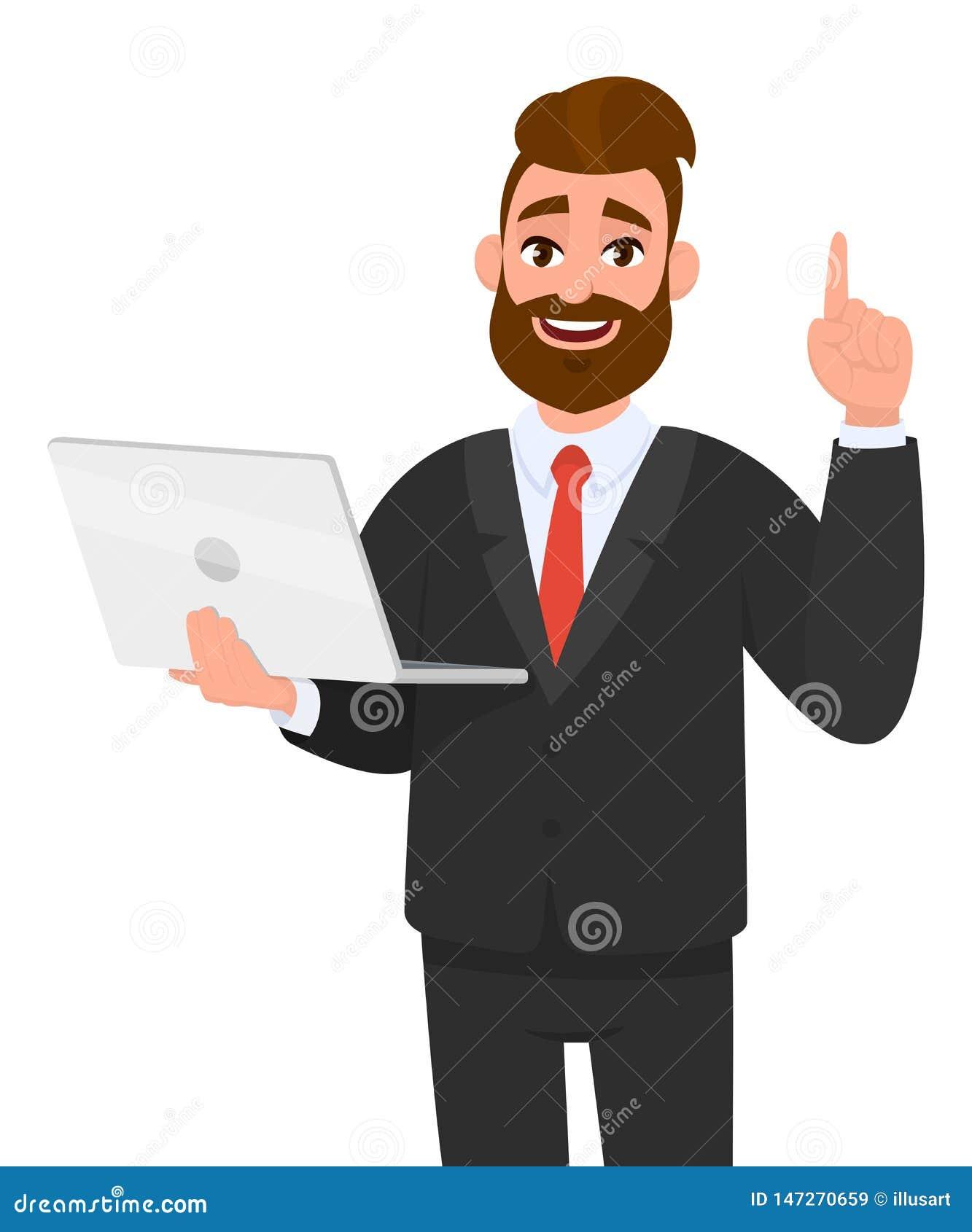 Ungt rymma för affärsman/för bärbar datordator för visning senast splitterny apparat och som upp pekar fingret eller att göra en