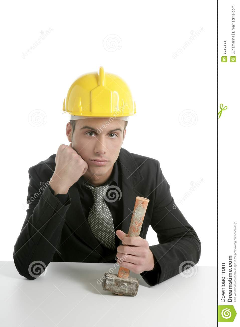 Unhappy Architect Engineer That Lost His Work Stock Photo ...