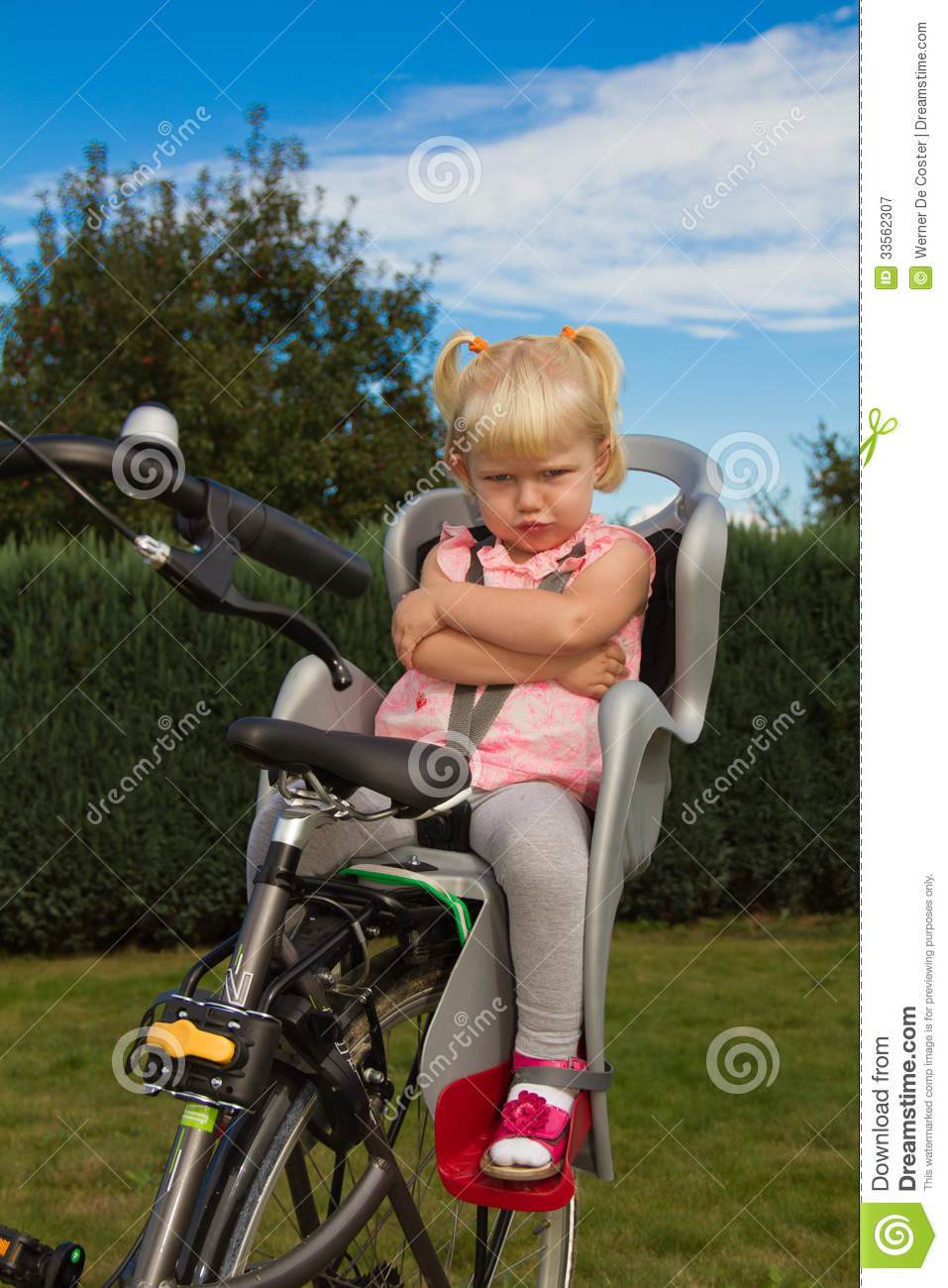 Unhappy bicycle toddler royalty free stock photography for Toddler sitting chair