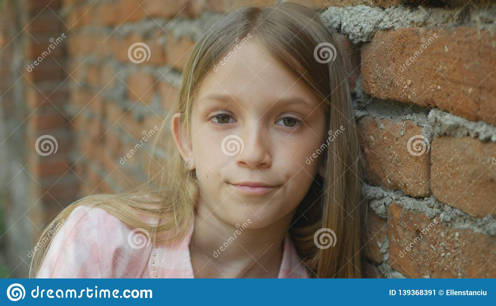 Unhappy Child Looking in Camera, Sad Girl Portrait, Depressed Bored Kid Face
