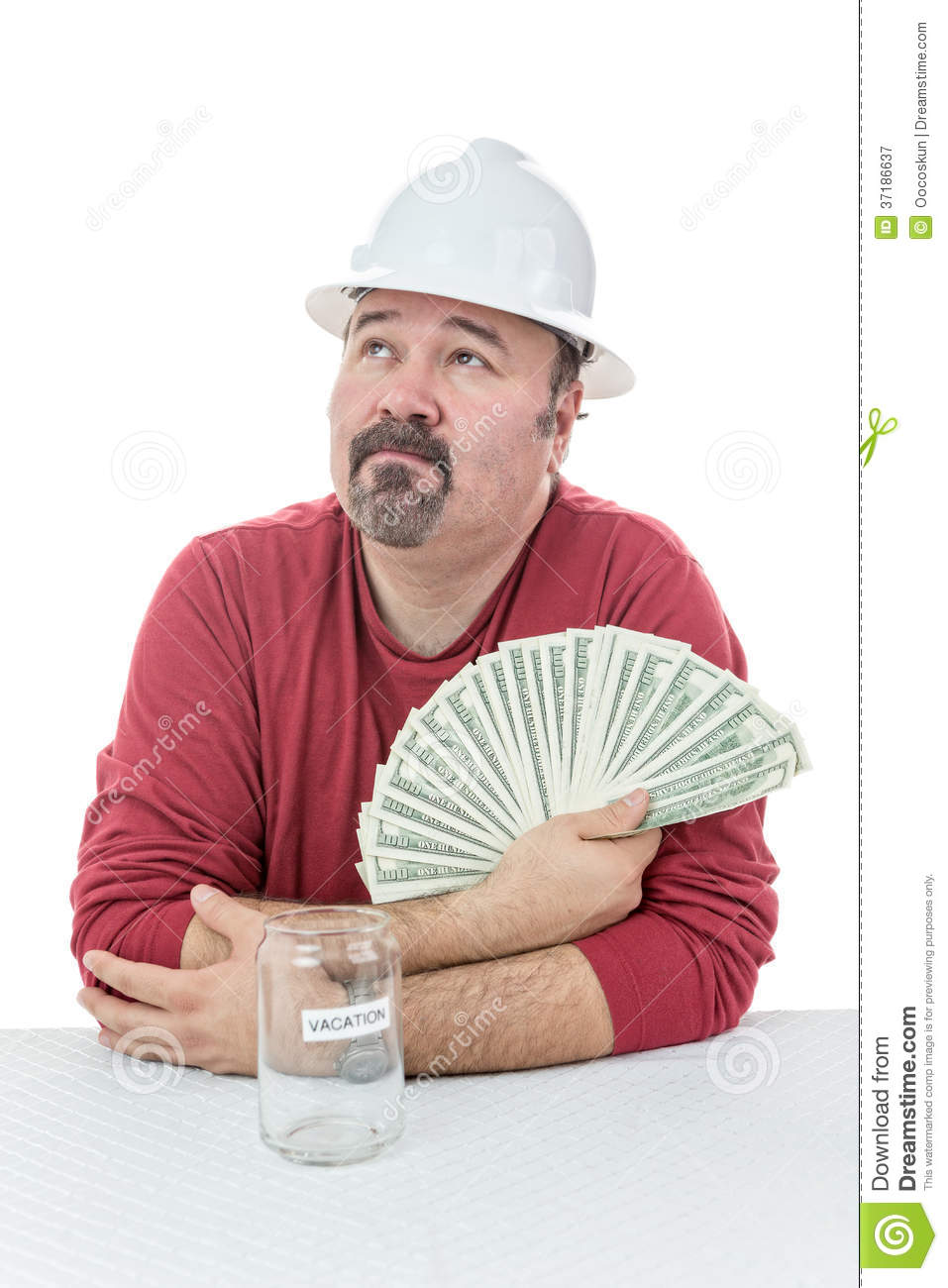 Unhappy Construction Worker Holding To Tax Money Royalty ...