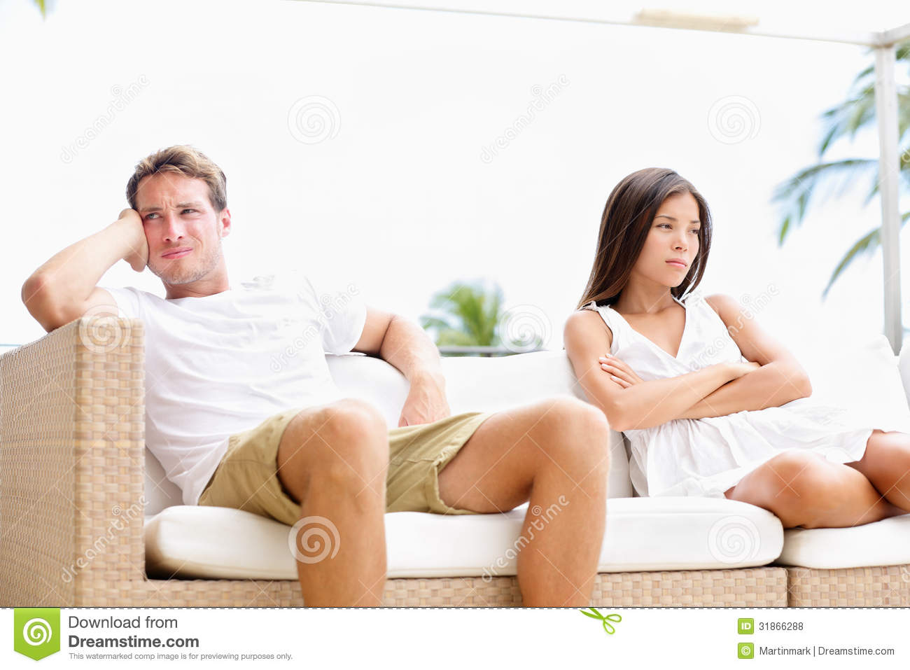Unhappy couple upset with marital problems