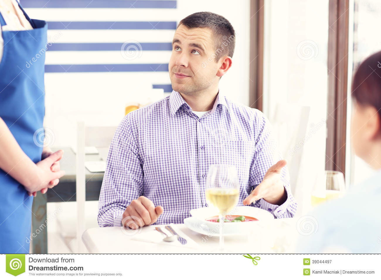 Unhappy Customer In A Restaurant Stock Image - Image of ...