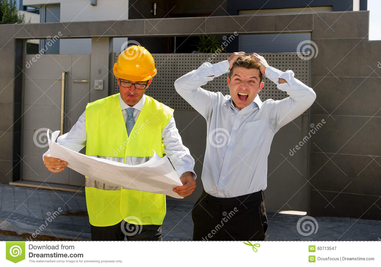 Unhappy Customer In Stress And Constructor Foreman Worker ...