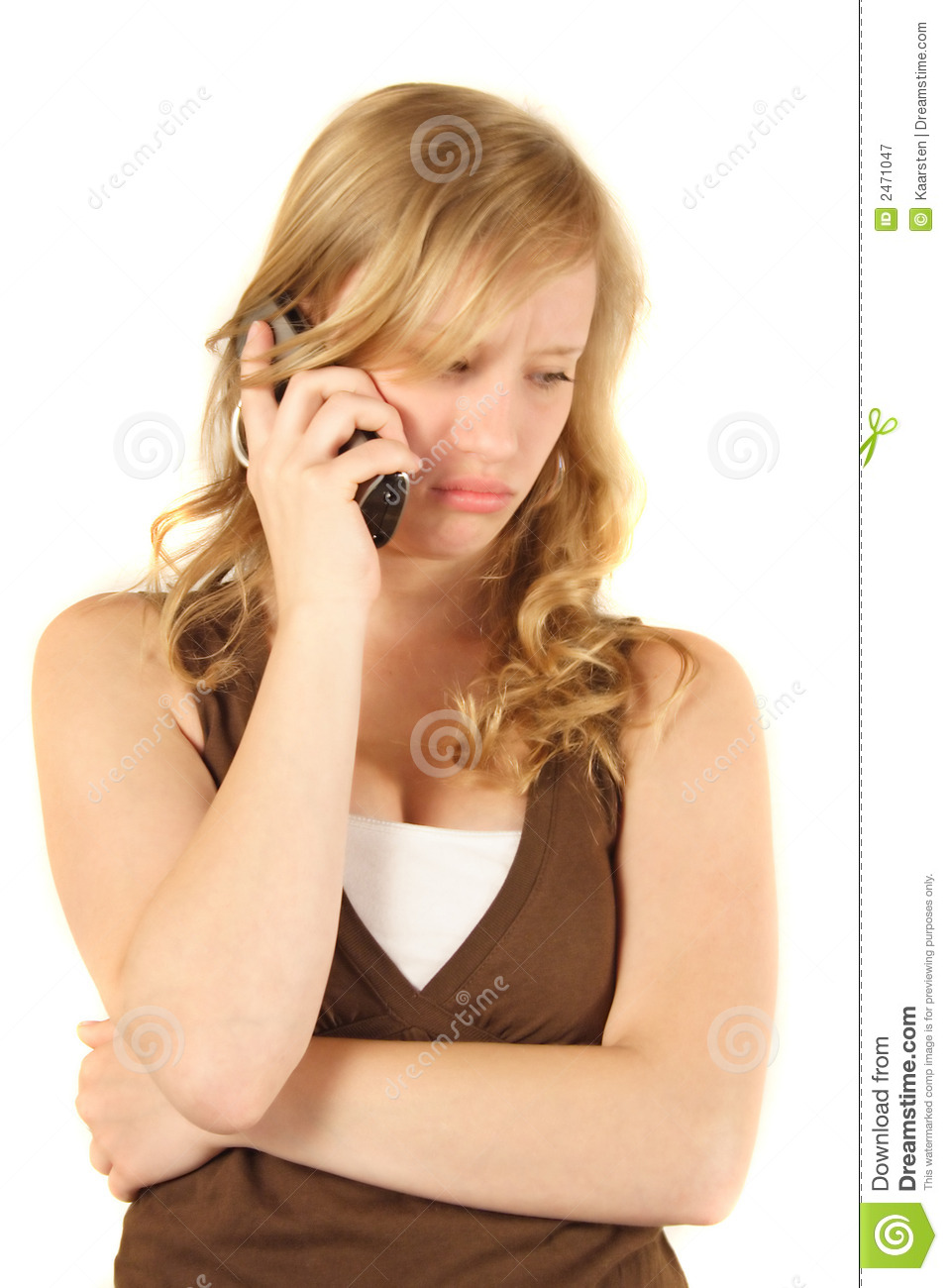 Unhappy girl phoning stock image. Image of teen ... Frustrated Person On Phone