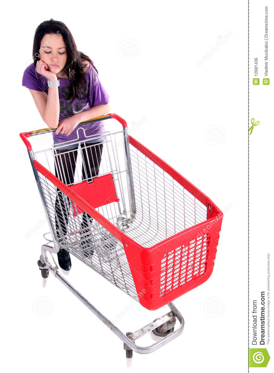 Unhappy Girl With Shopping Cart Royalty Free Stock Image ...