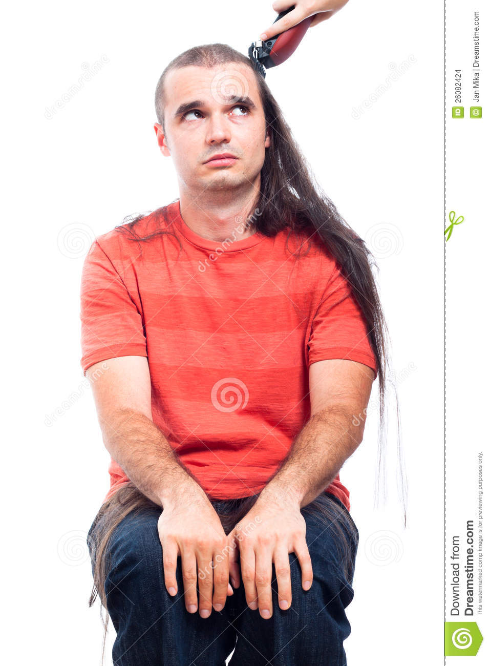 Unhappy Long Haired Man Being Shaved Stock Images Image