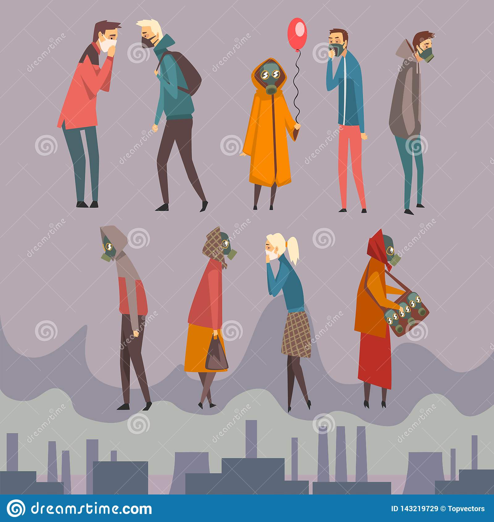 Unhappy Men, Women and Children Wearing Protective Masks Walking in City, People Suffering from Air Pollution