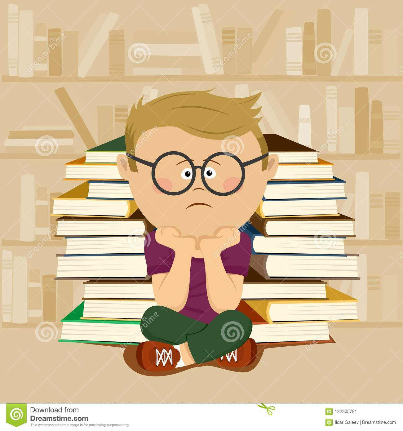 Unhappy nerd boy sitting in front of stack of books and bookshelf in school library