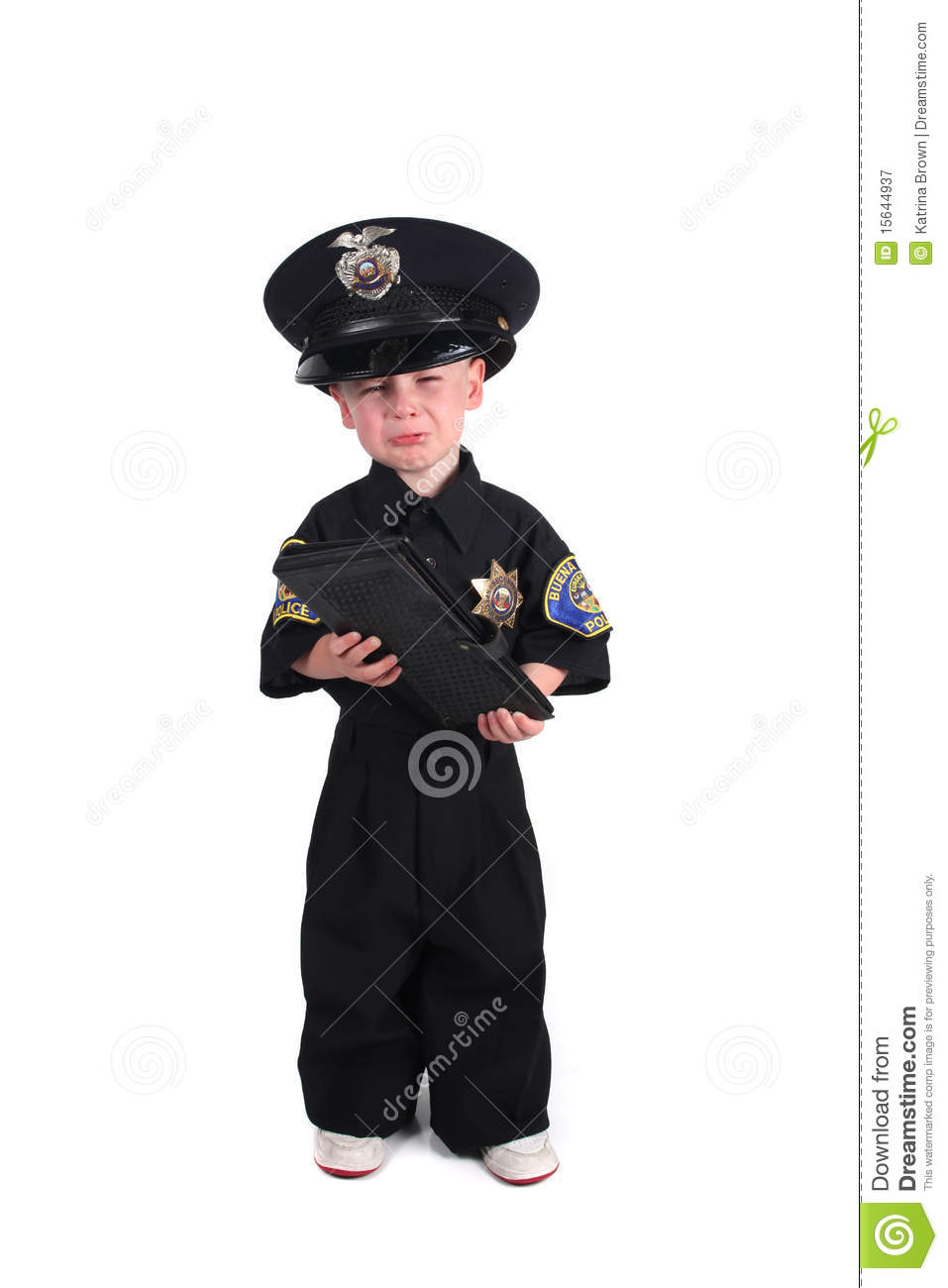 Unhappy Police Officer Holding a Ticket Book