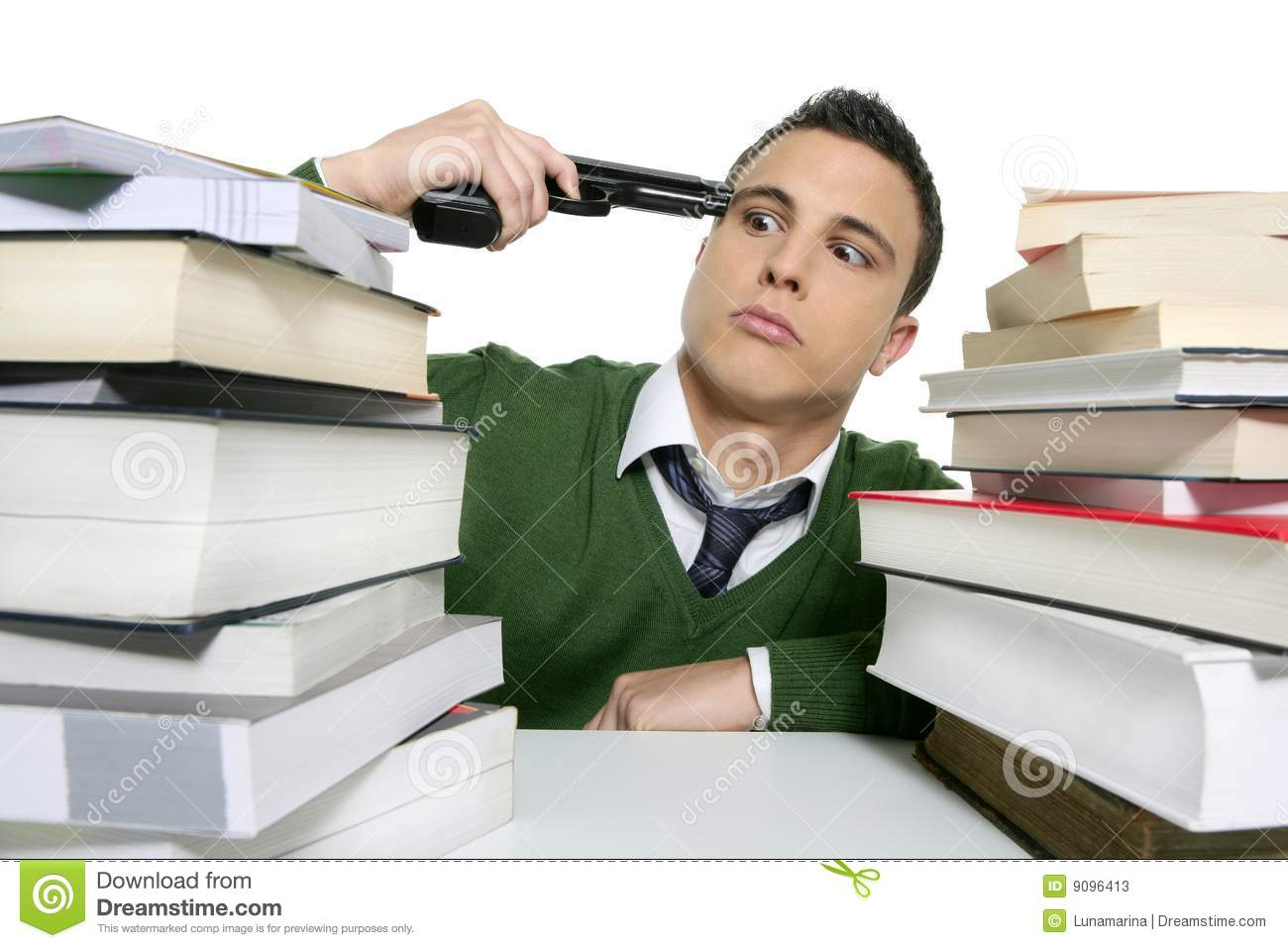 Unhappy Sad Student Suicide Gun Metaphor Stock Photos - Image: 9096413