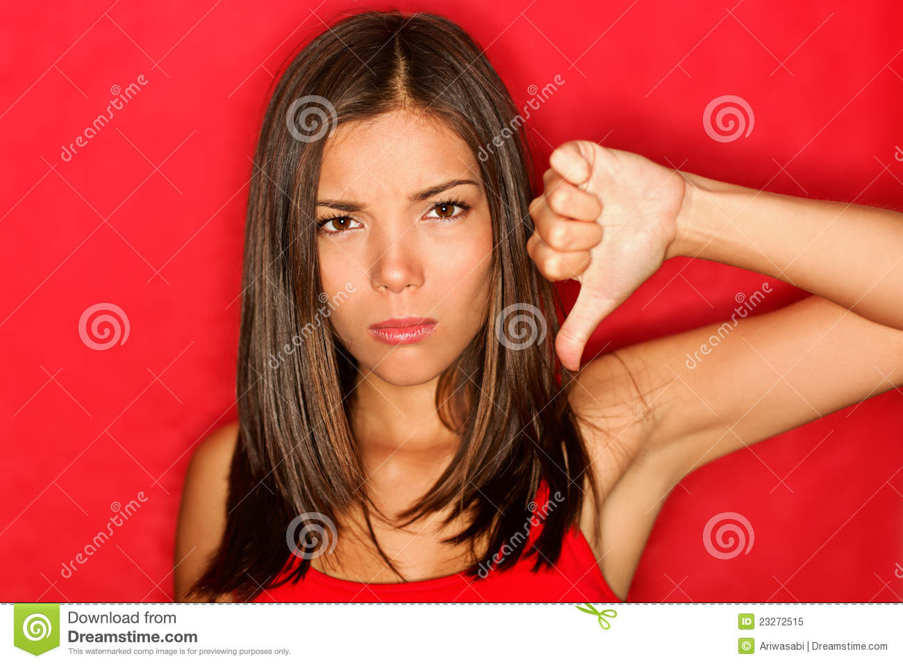 Unhappy thumbs down woman