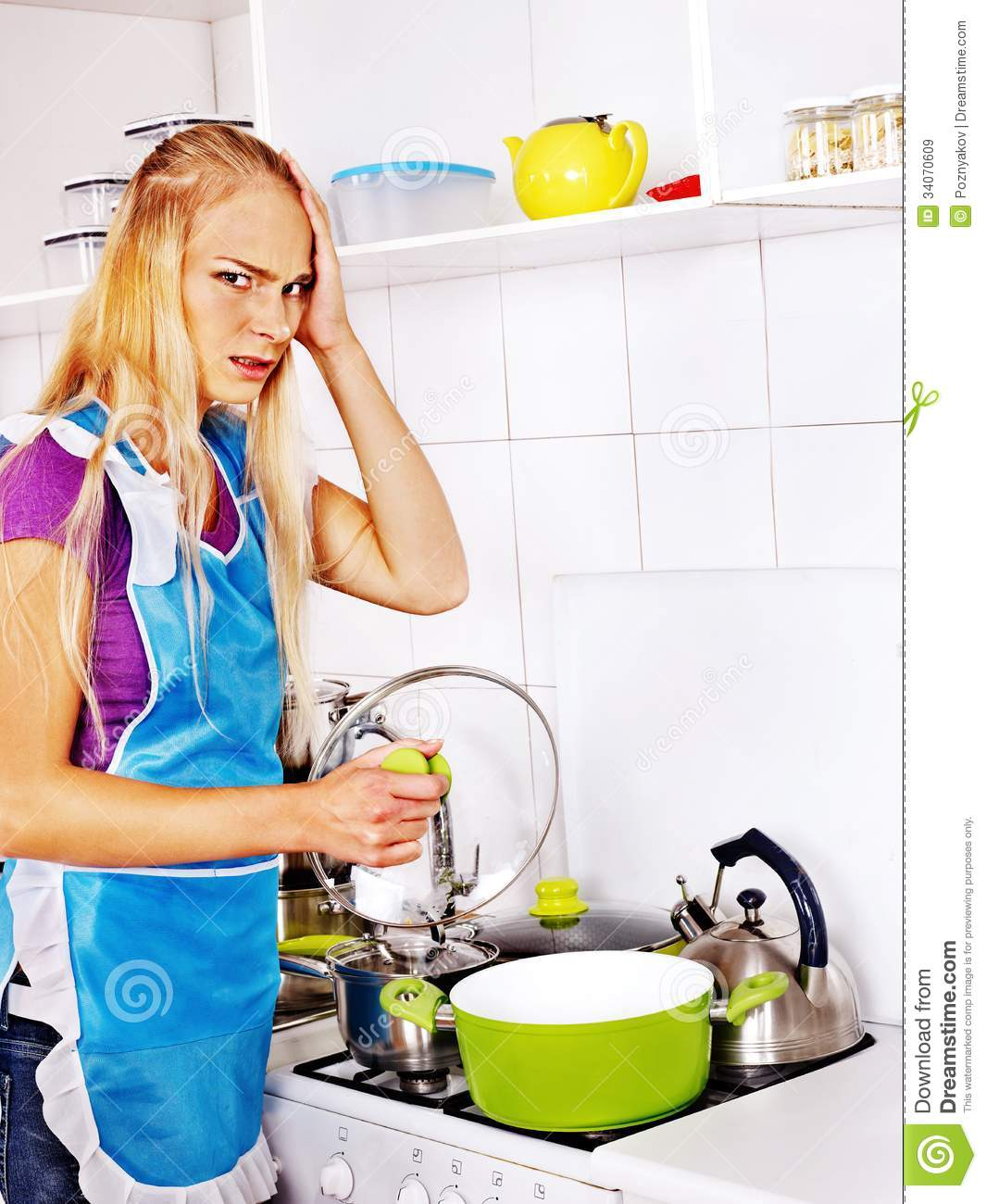 Women Kitchen: Unhappy Tired Woman At Kitchen. Stock Image