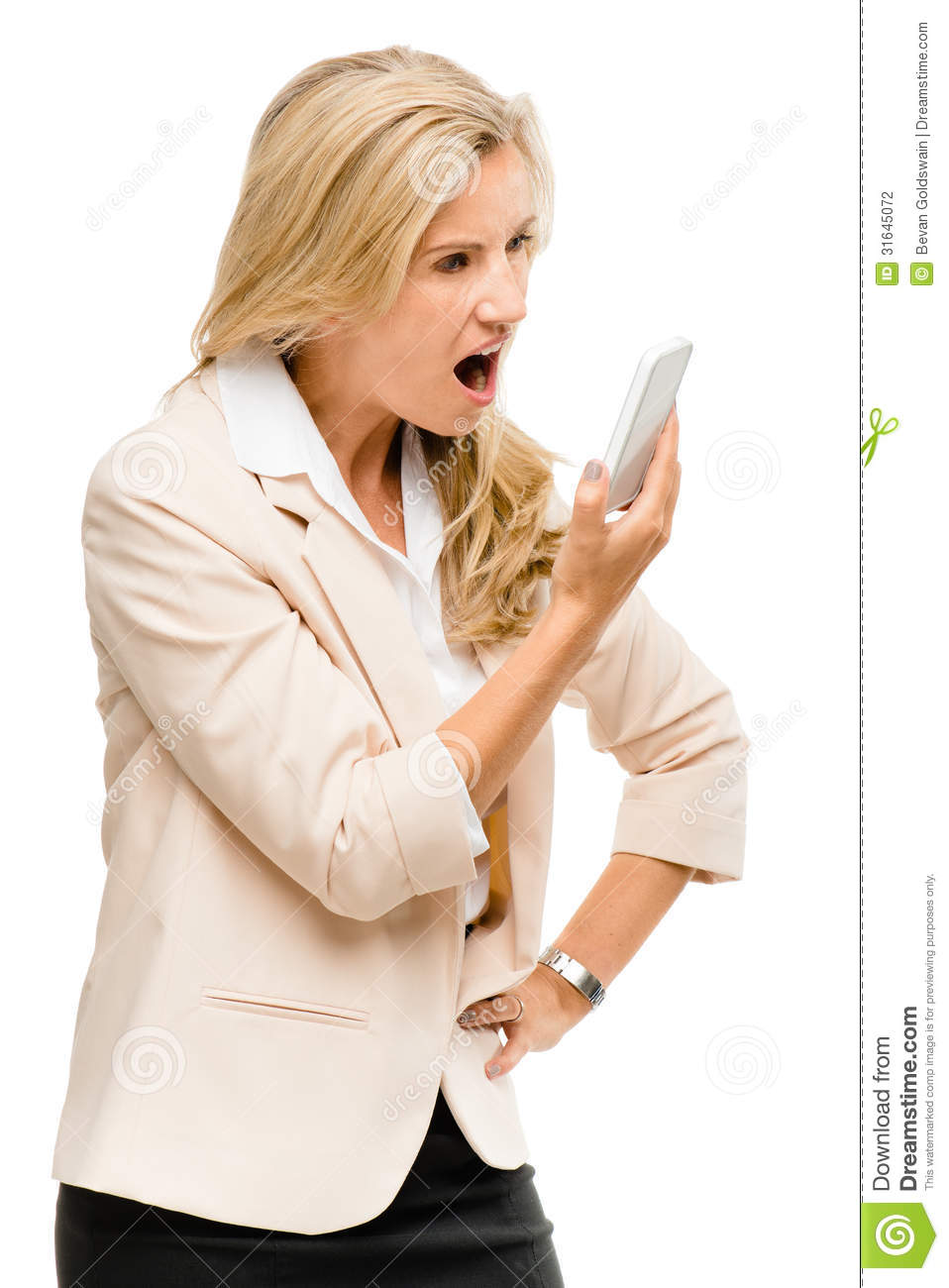 Unhappy Woman Fighting Using Mobile Phone Isolated On ...