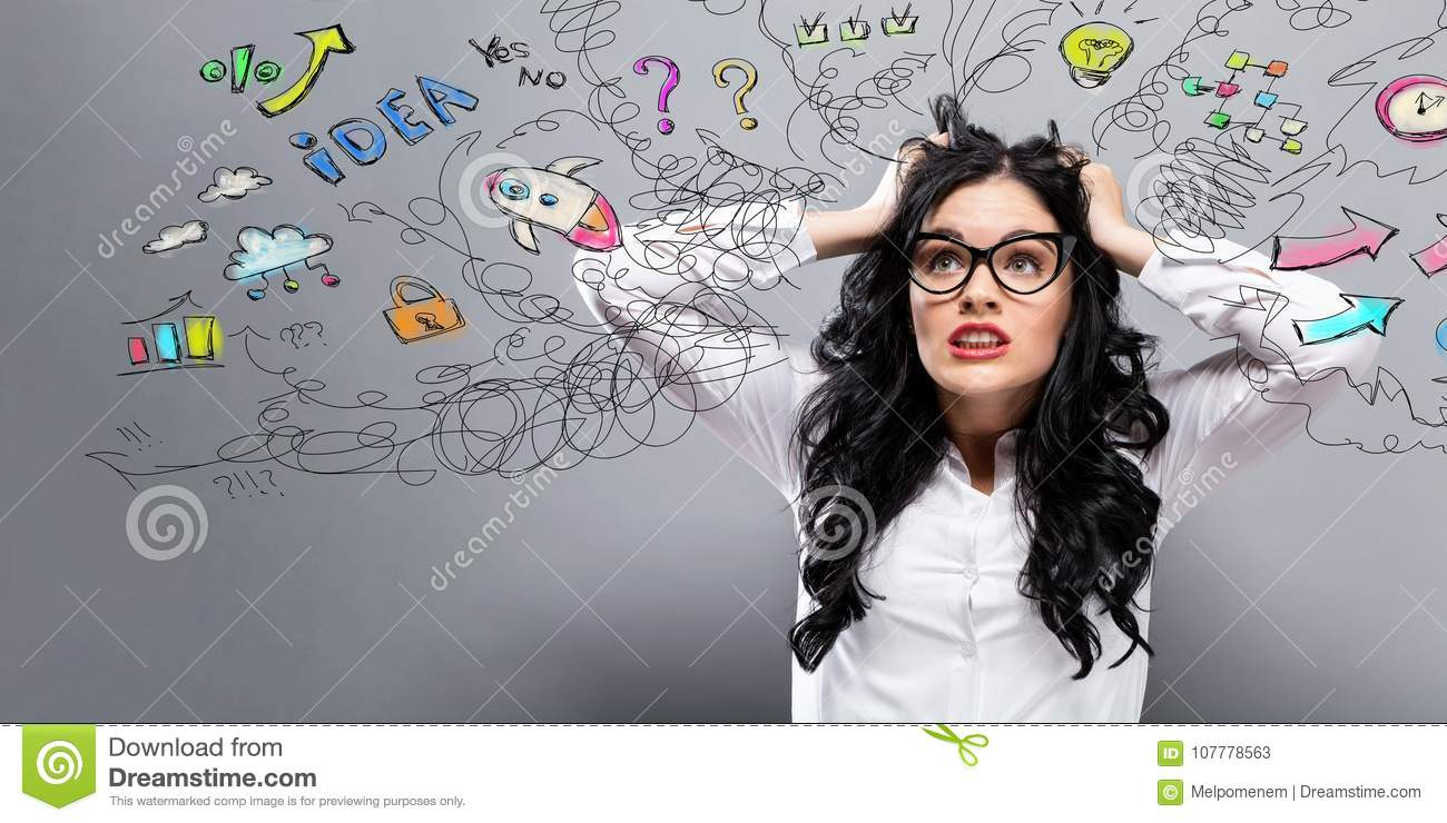 Unhappy woman with many thoughts