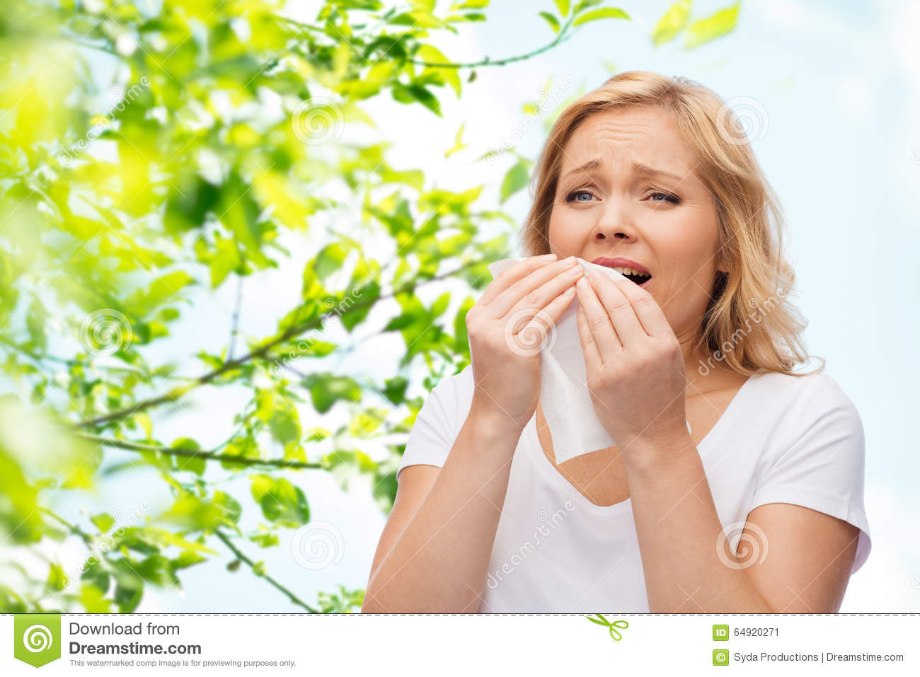 Woman sneezing clipart free