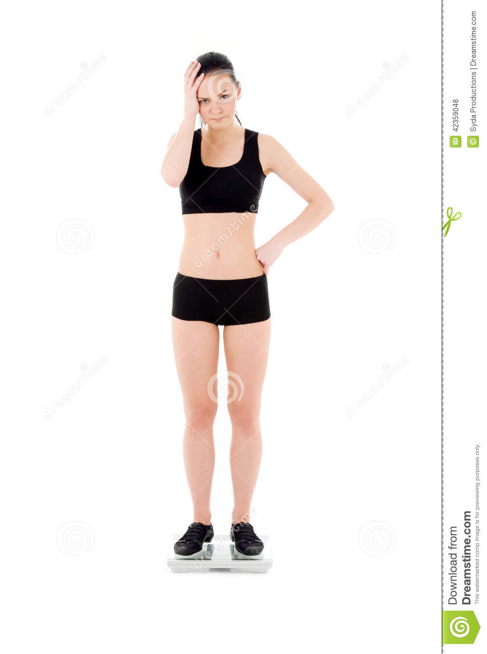 Unhappy woman on scales