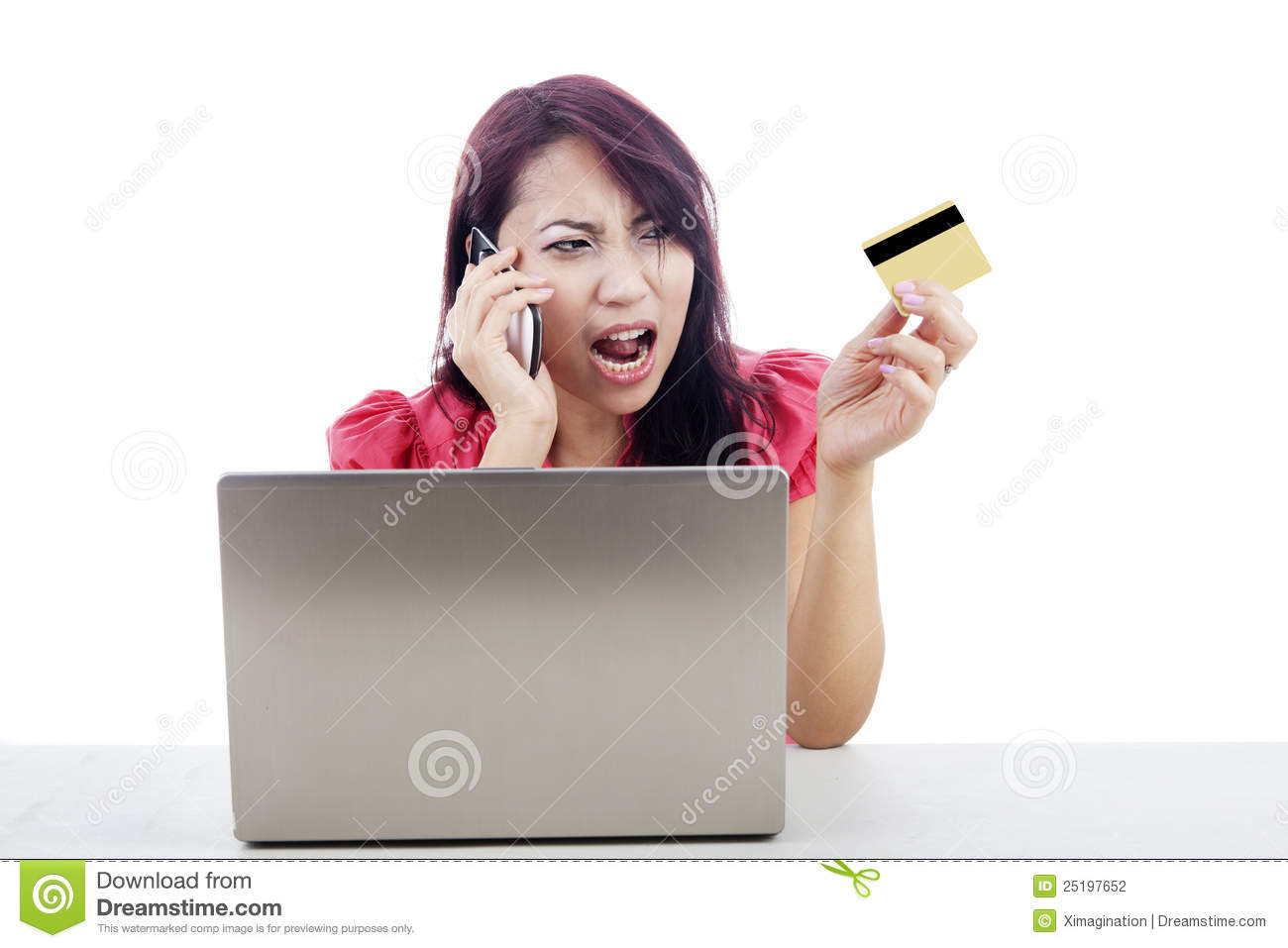Unhappy Woman Shopping Online Stock Photography - Image ...