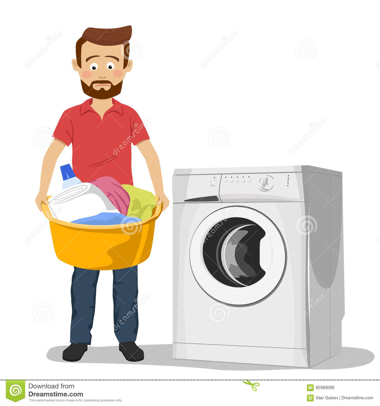 Cartoon Clothes Dryer ~ Unhappy young man standing next to washing machine with