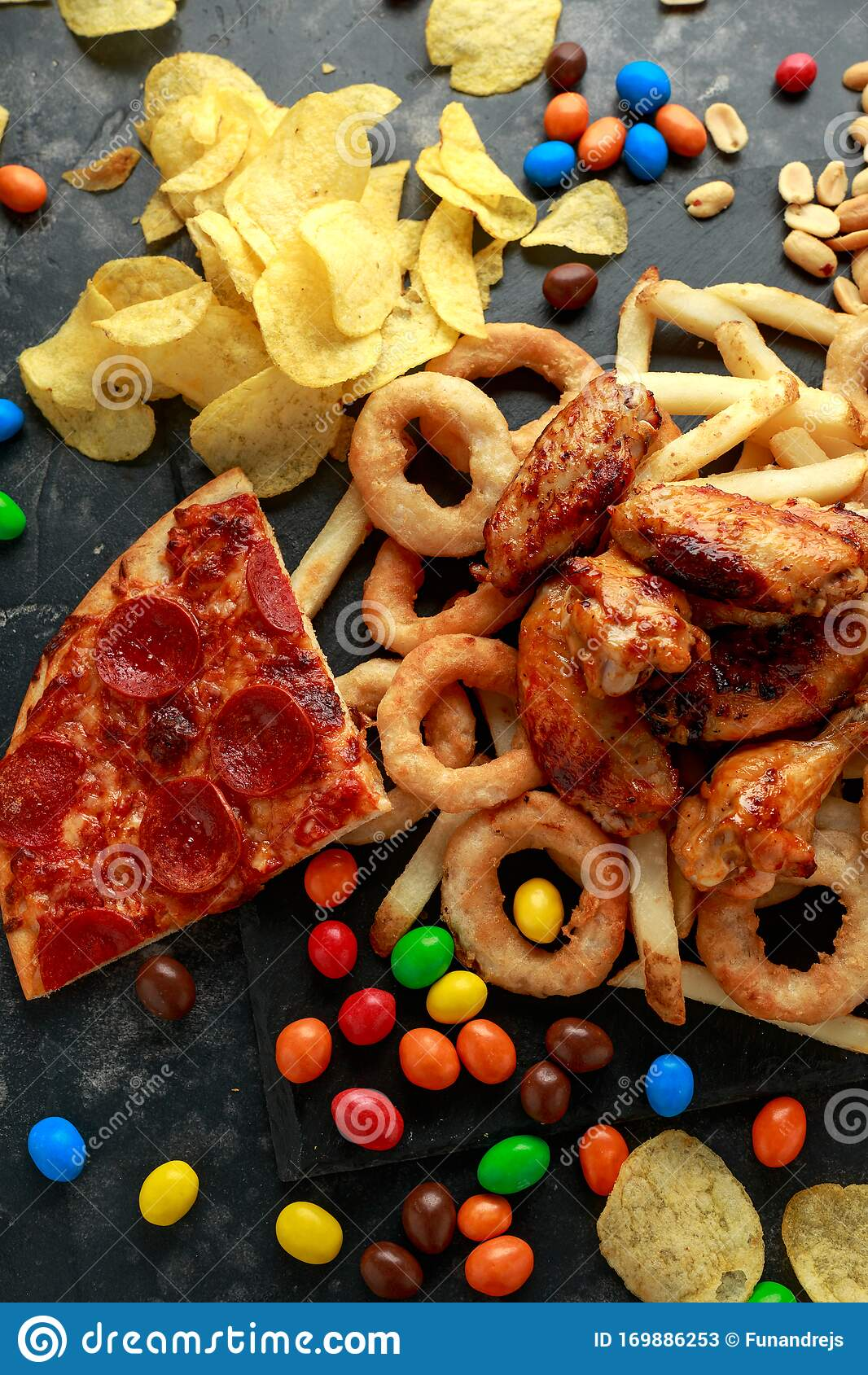 Unhealthy, Fast Food Concept. Onion Rings, Pizza, French ...