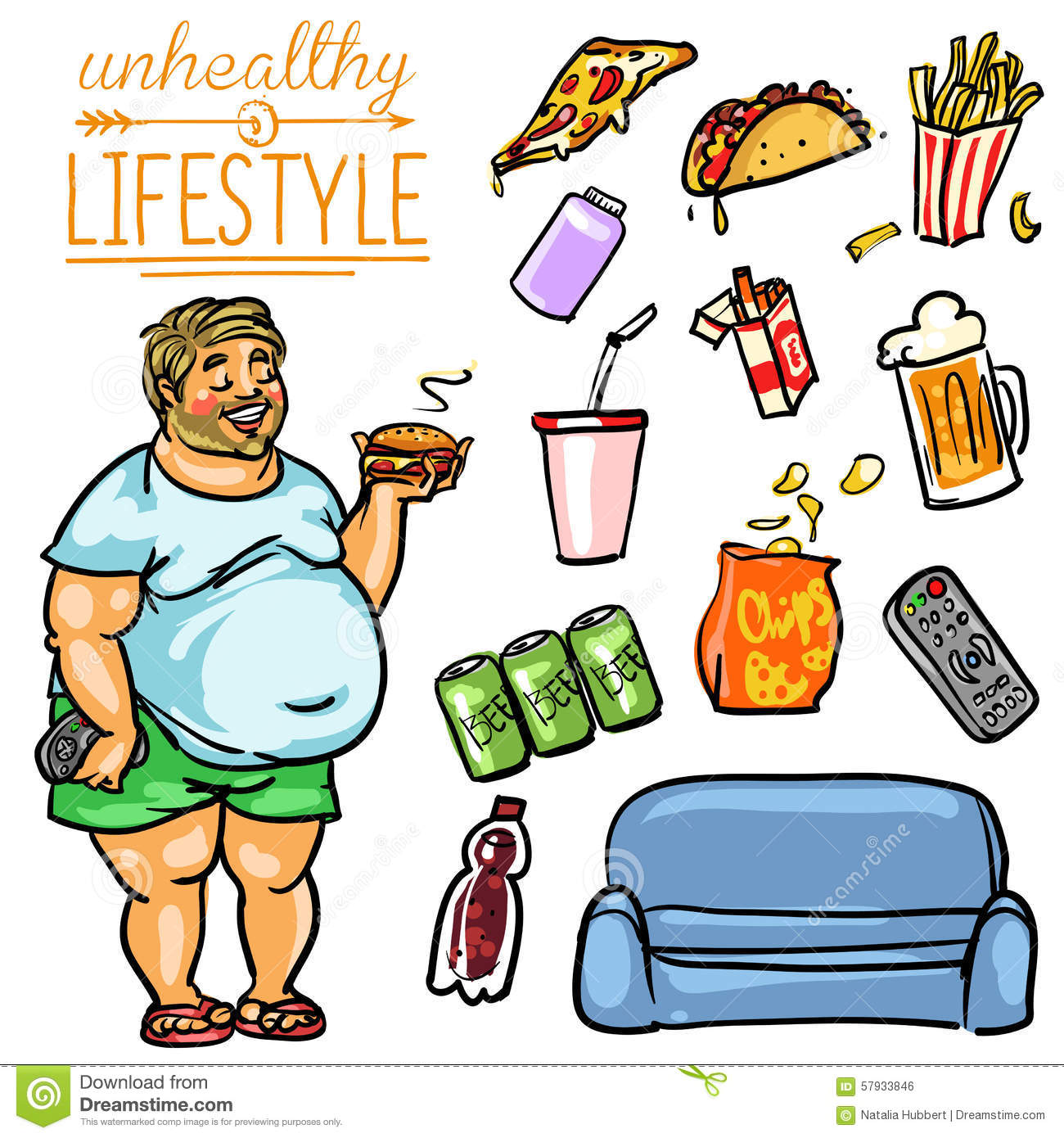 unhealthy lifestyle man stock vector illustration of