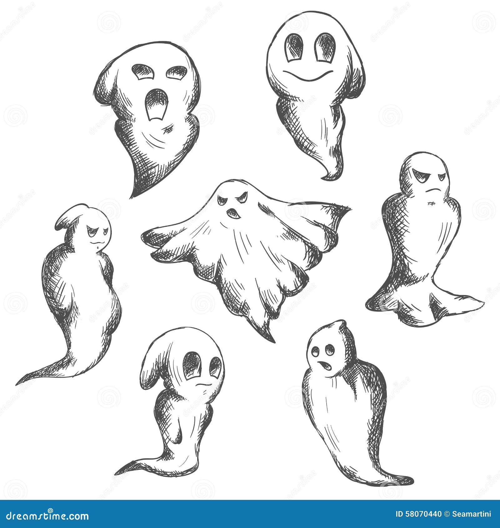 Unheimliche Und Gefahrn-Halloween-Geister Stockfot