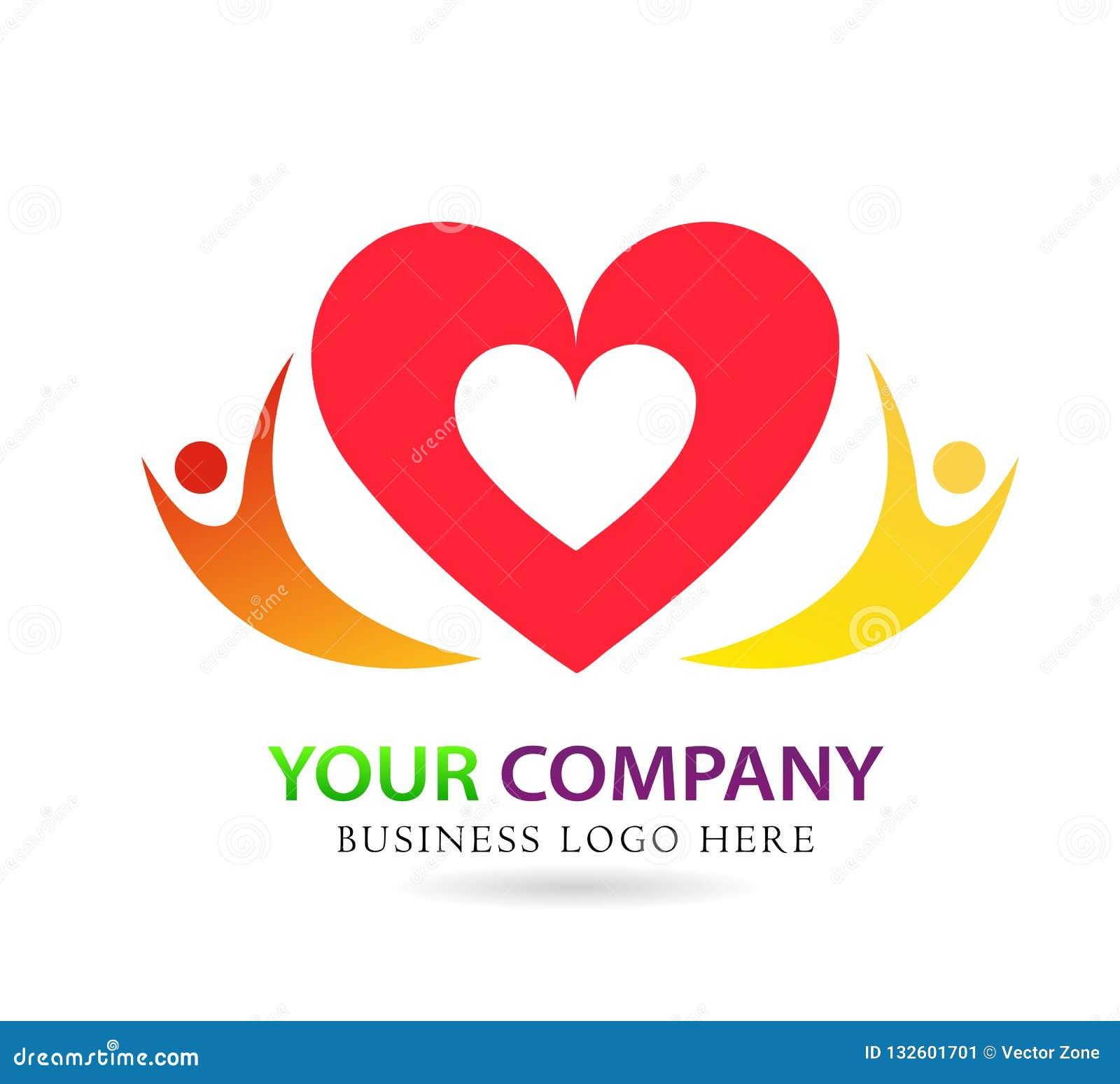União do cuidado do amor da família no sinal vermelho do elemento do ícone do logotipo do conceito da empresa do coração no fundo