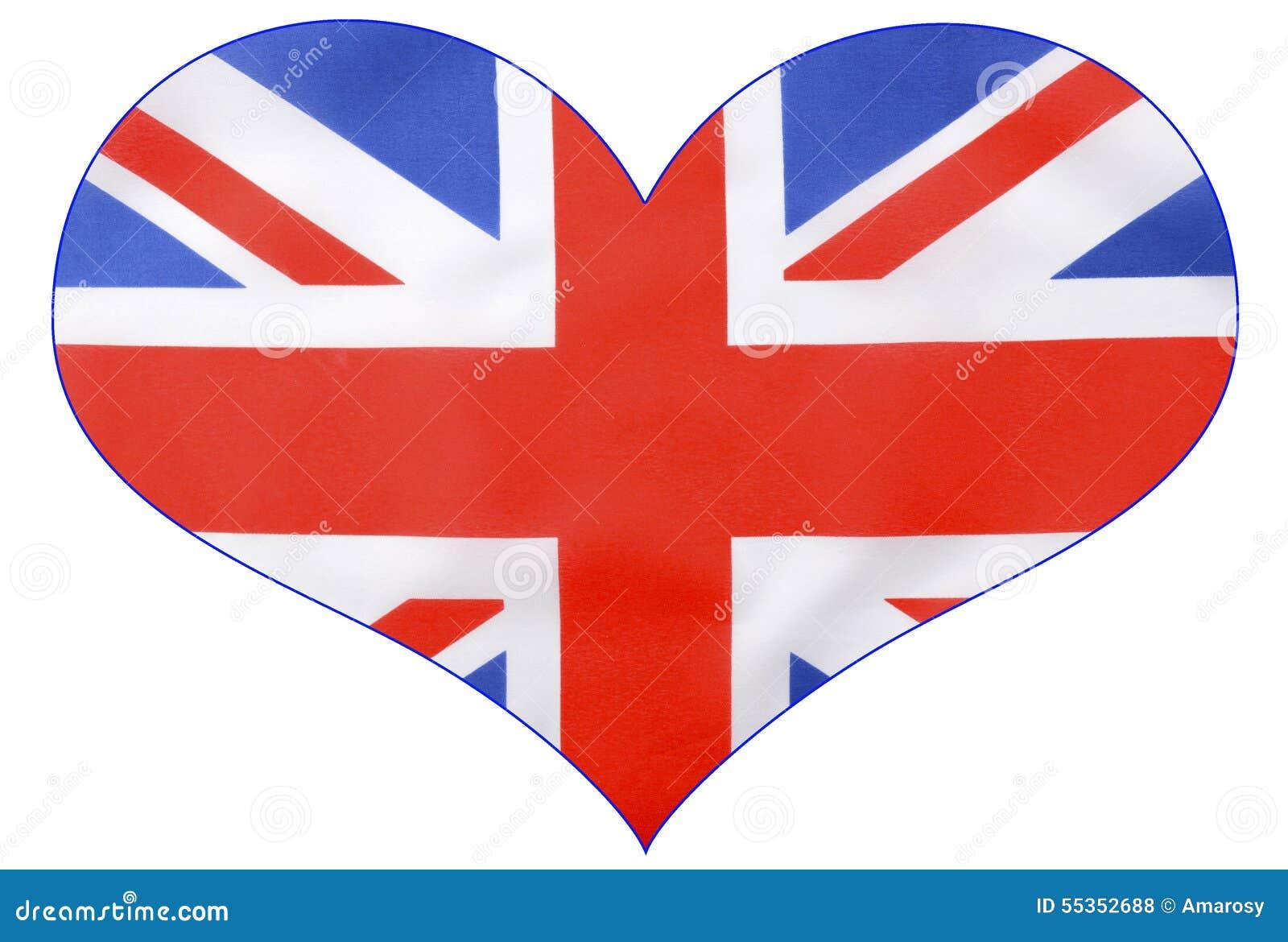 Unión Británica Jack Flag De La Forma Del Corazón Foto de archivo ...