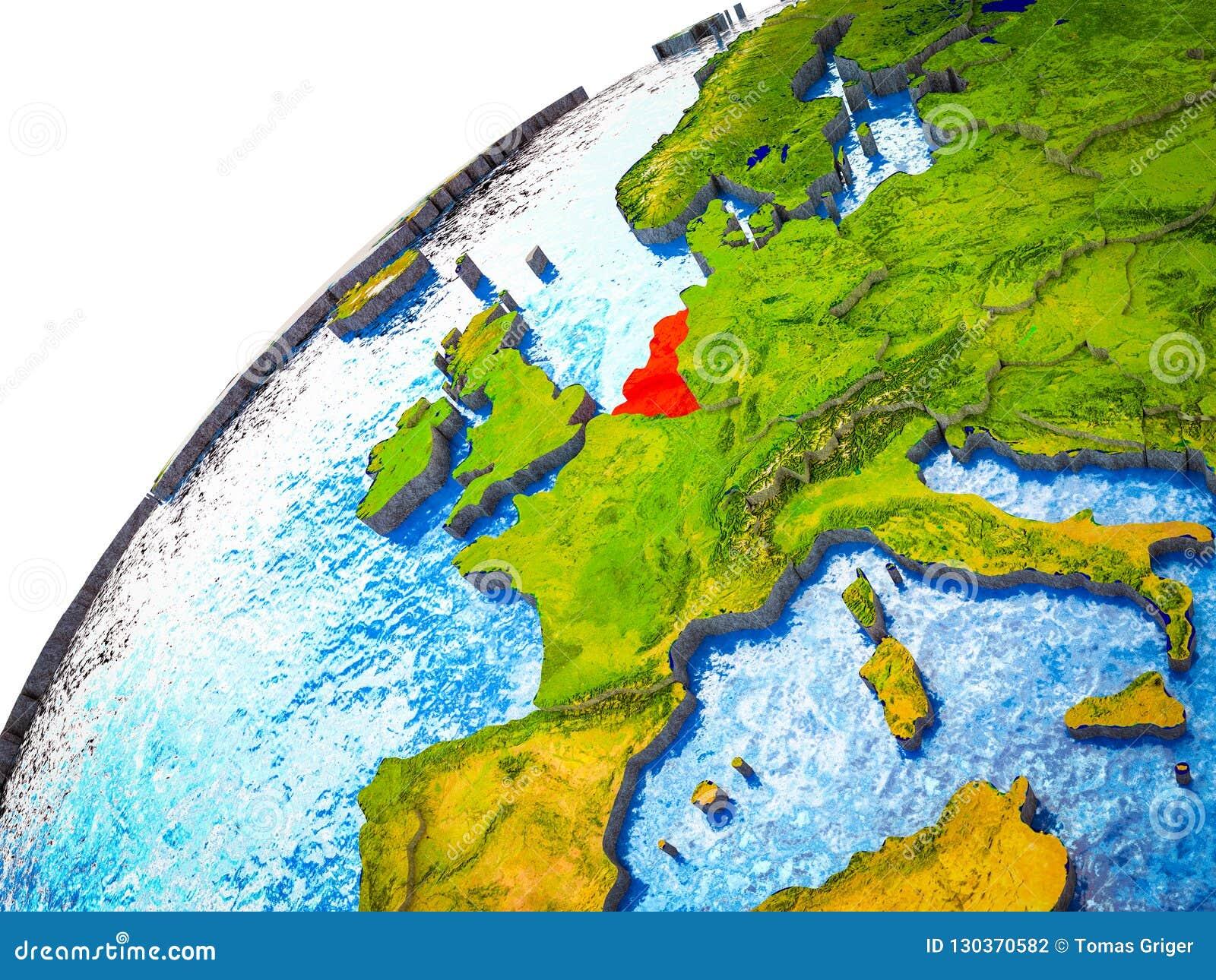 Unión de Benelux en la tierra 3D