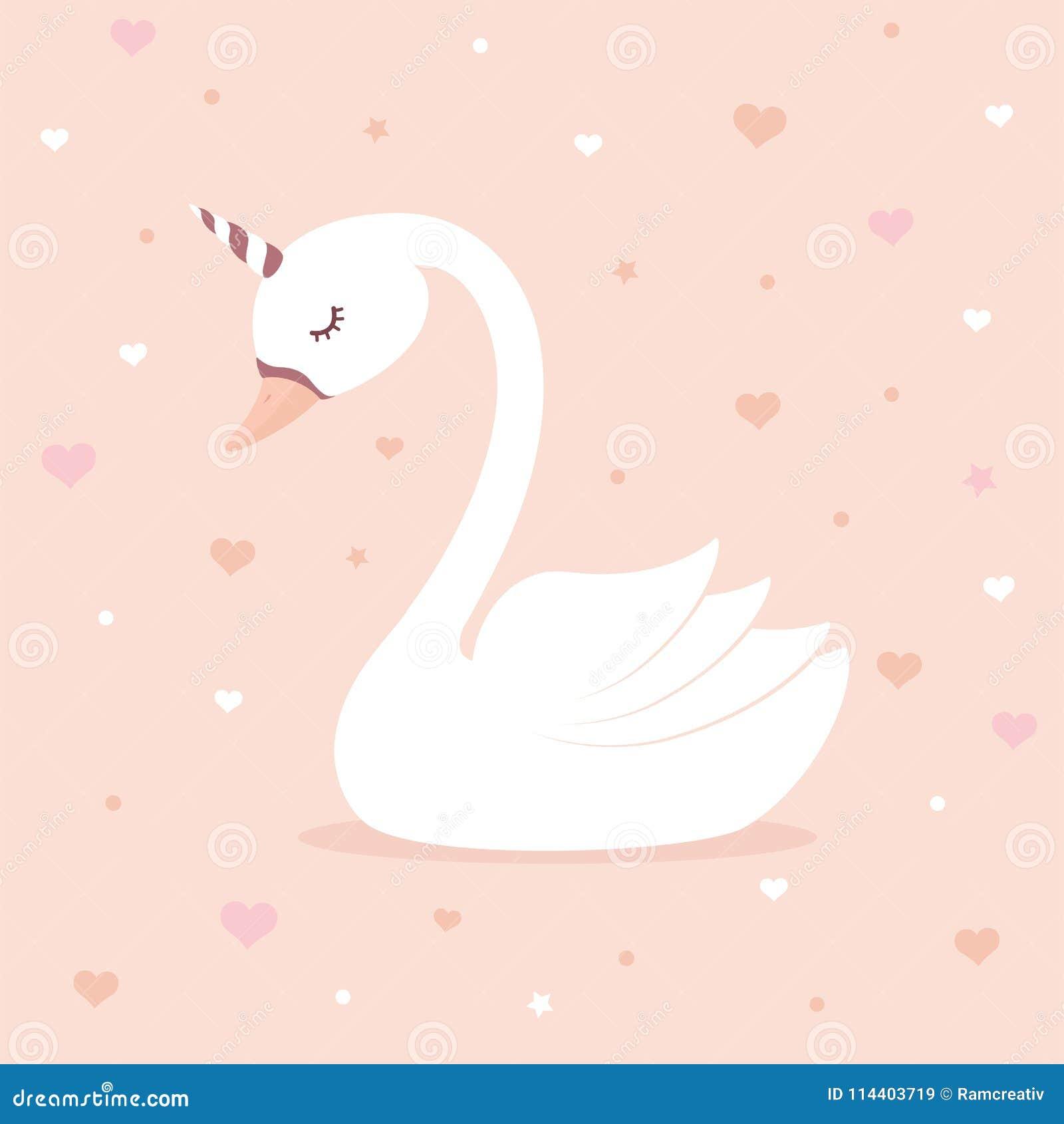 Unicórnio bonito da cisne no fundo cor-de-rosa