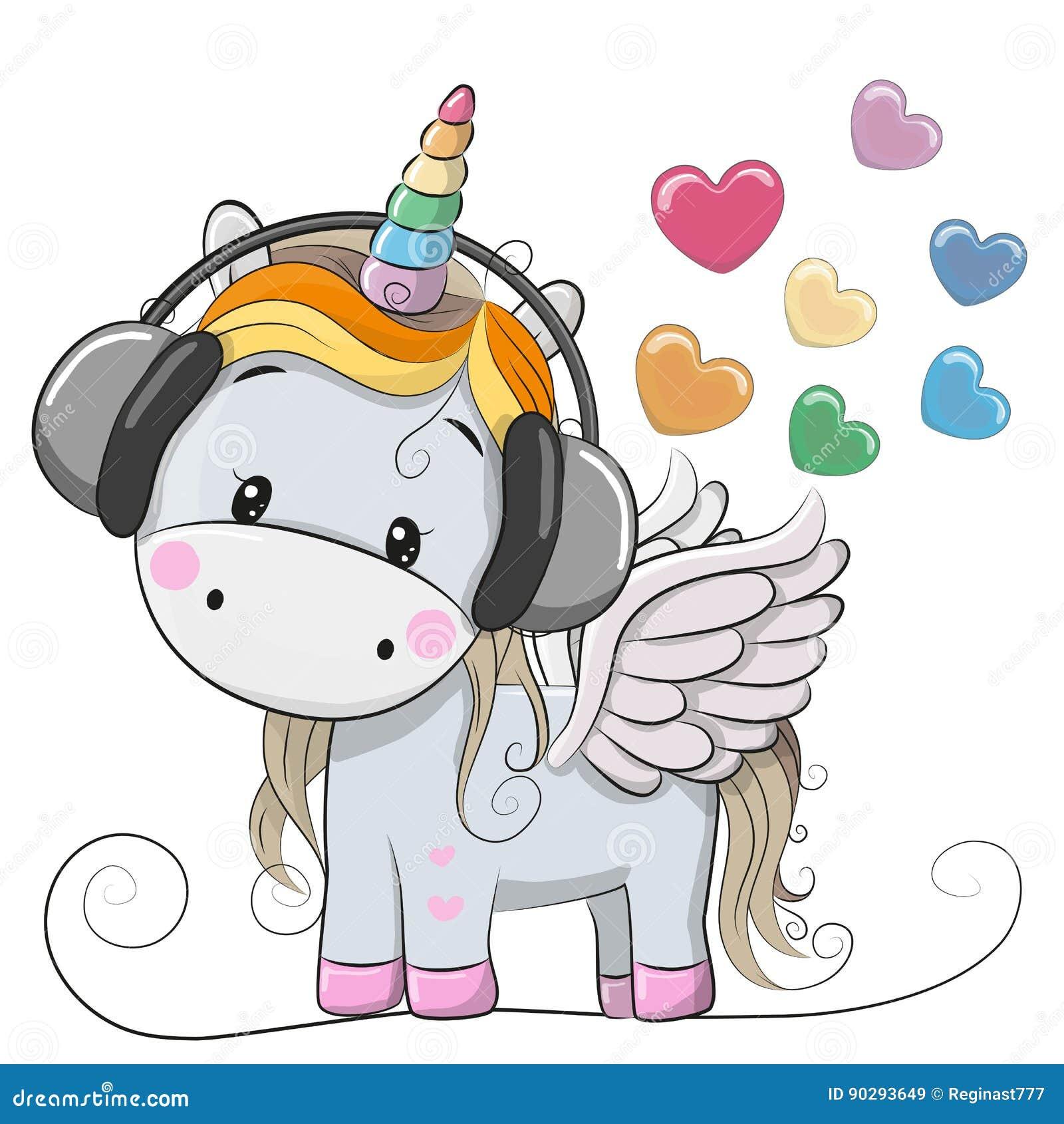 Unicórnio bonito dos desenhos animados com fones de ouvido