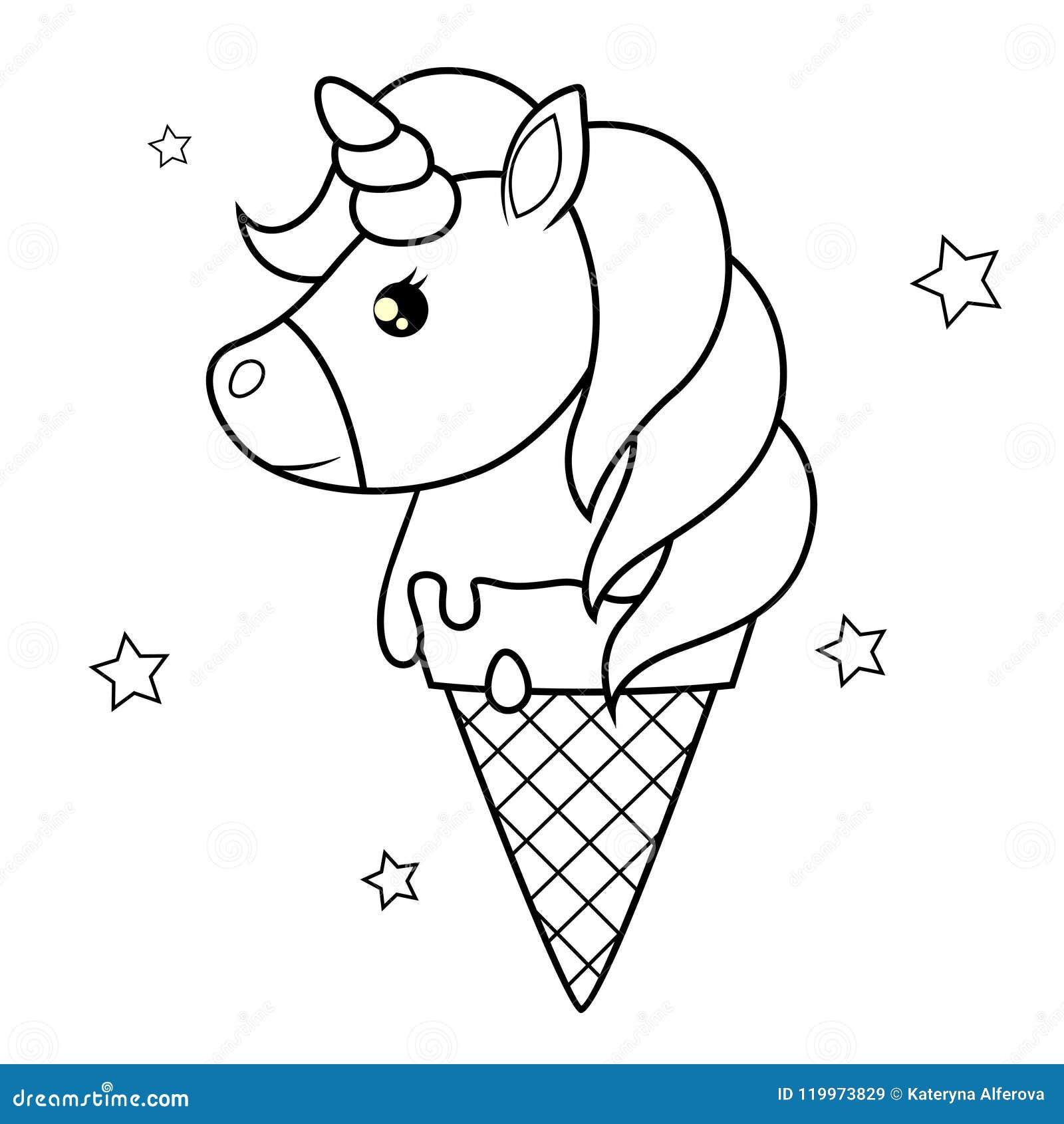 Unicornio Bonito Dos Desenhos Animados Cones De Gelado Da Morango