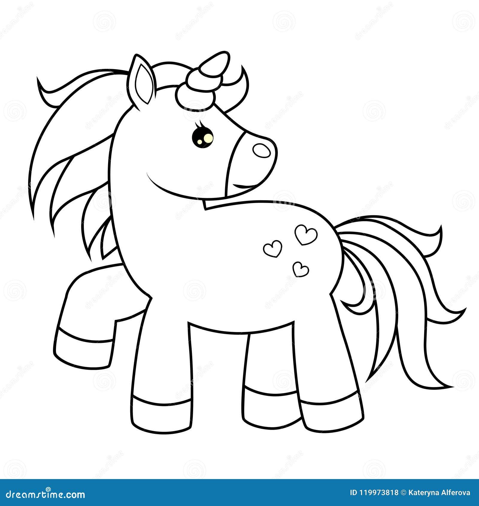 Unicornio Bonito Dos Desenhos Animados Ilustracao Preto E Branco