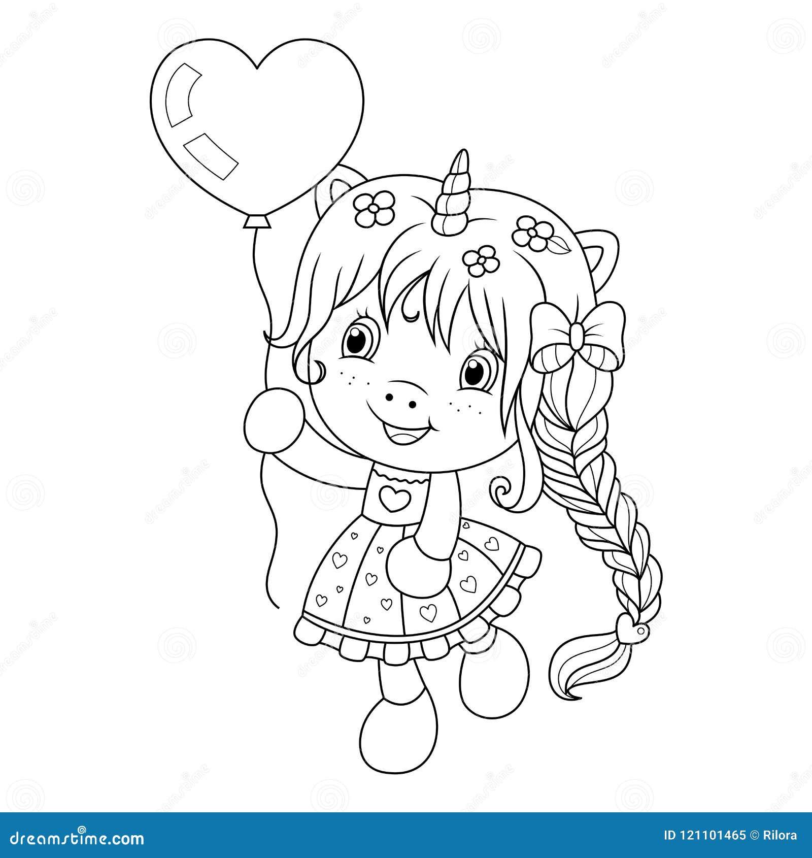 Unicornio Bonito Que Joga Com Ballon Da Forma Do Coracao Pagina