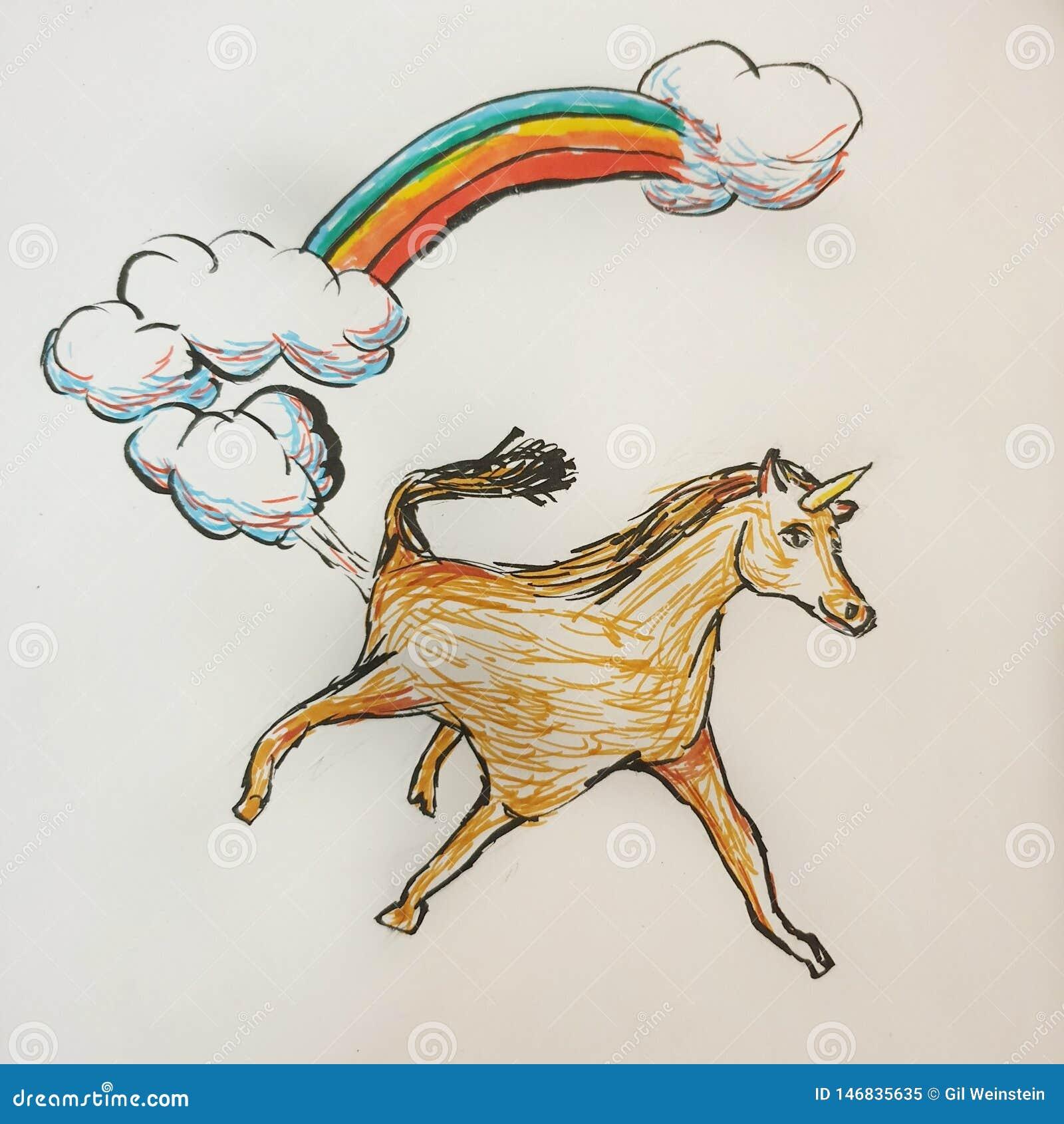 Unicórnio no ar com arco-íris e nuvens