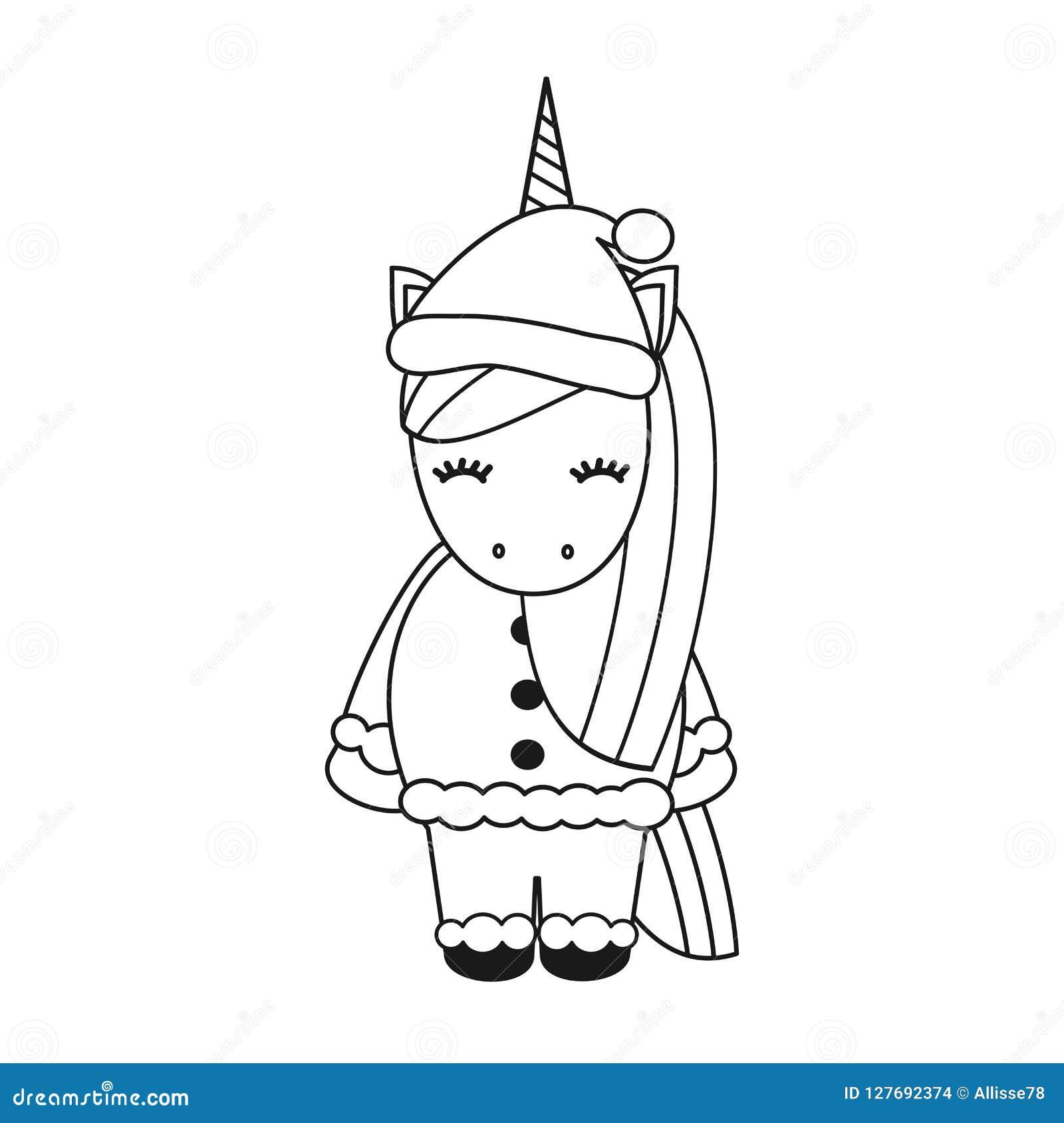 Unicornio Preto E Branco Do Natal Do Vetor Bonito Dos Desenhos
