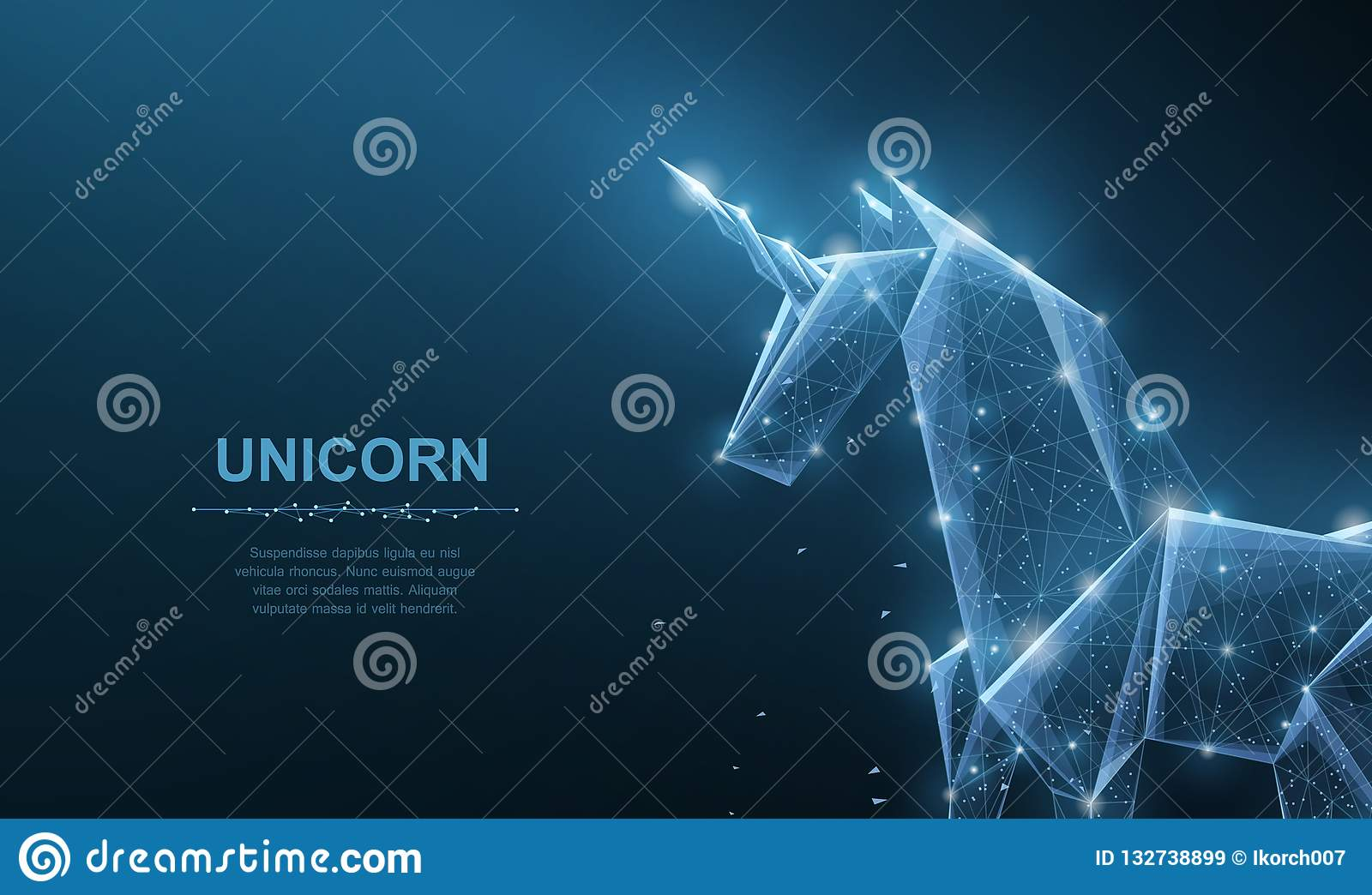 Unicorn. Abstract vector origami paper unicorn isoleted on blue. Magic, fantasy, horse, dream, miracle, believe, wish