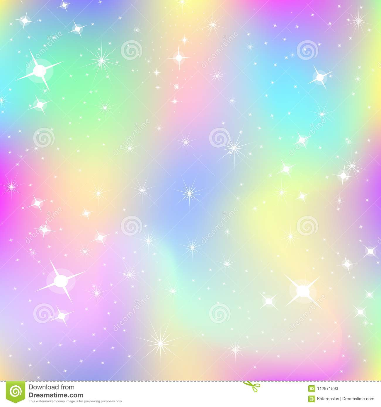Color Up Unicorn Background With Rainbow Mesh Stock Vector