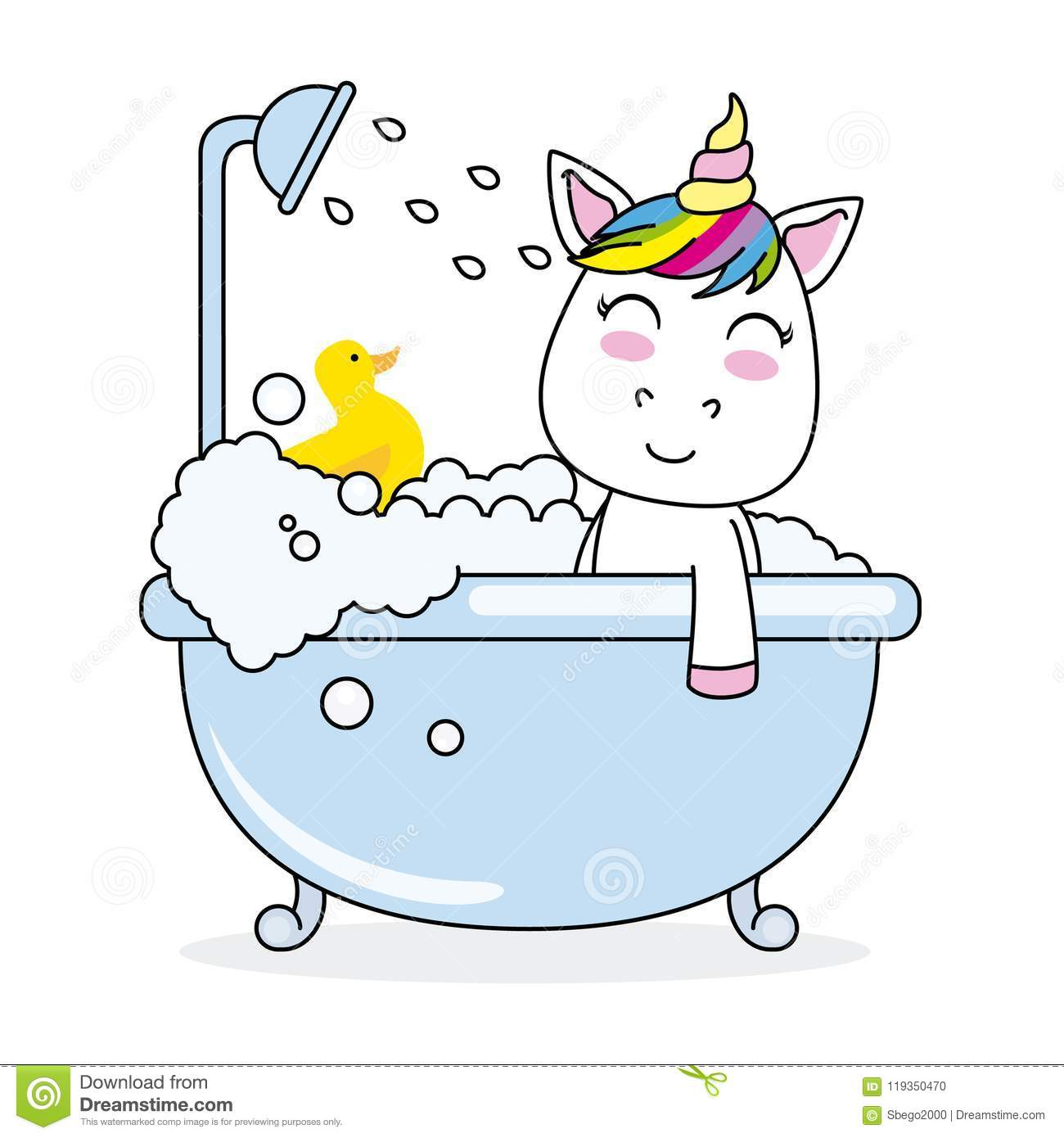 Unicorn Bathing In A Bathtub Stock Illustration - Illustration of ...