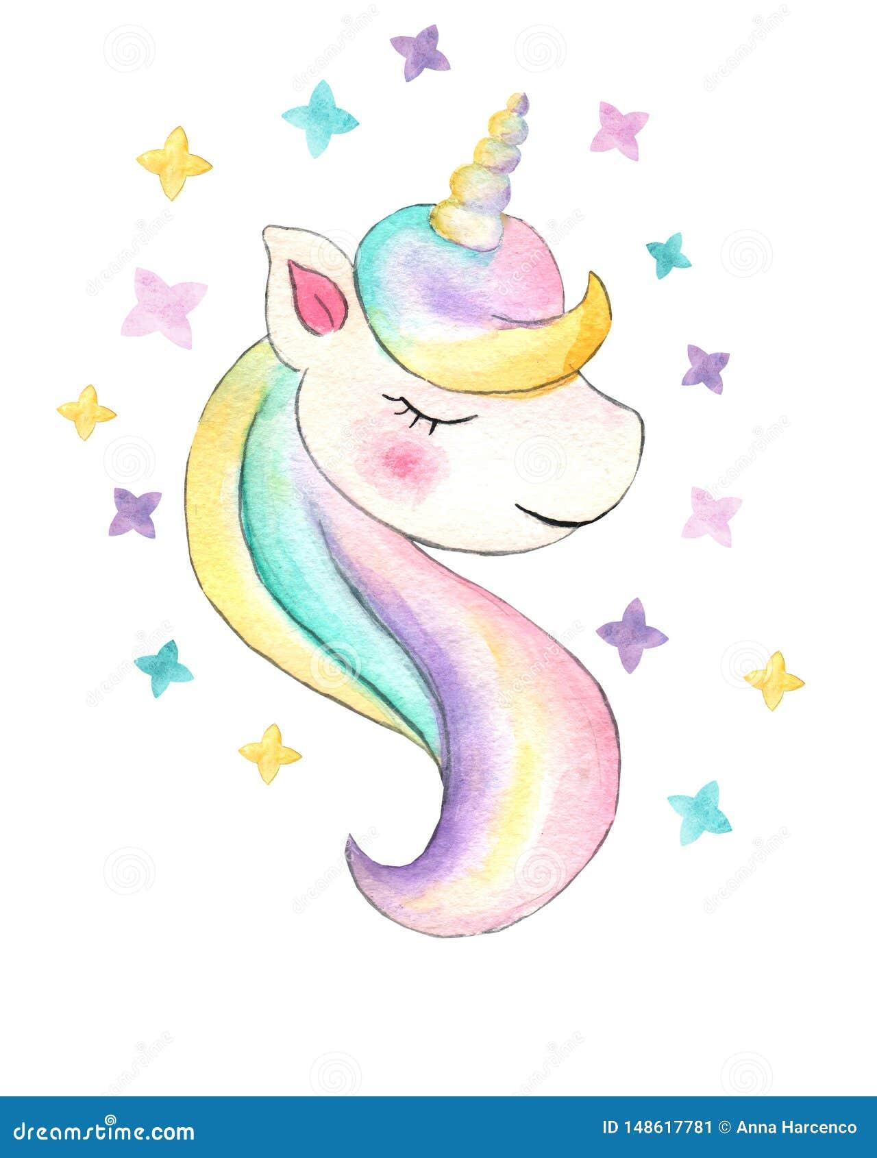 Unicorn Belle illustration de licorne d aquarelle Cheval ? la mode magique de bande dessin?e parfait pour la conception d impress