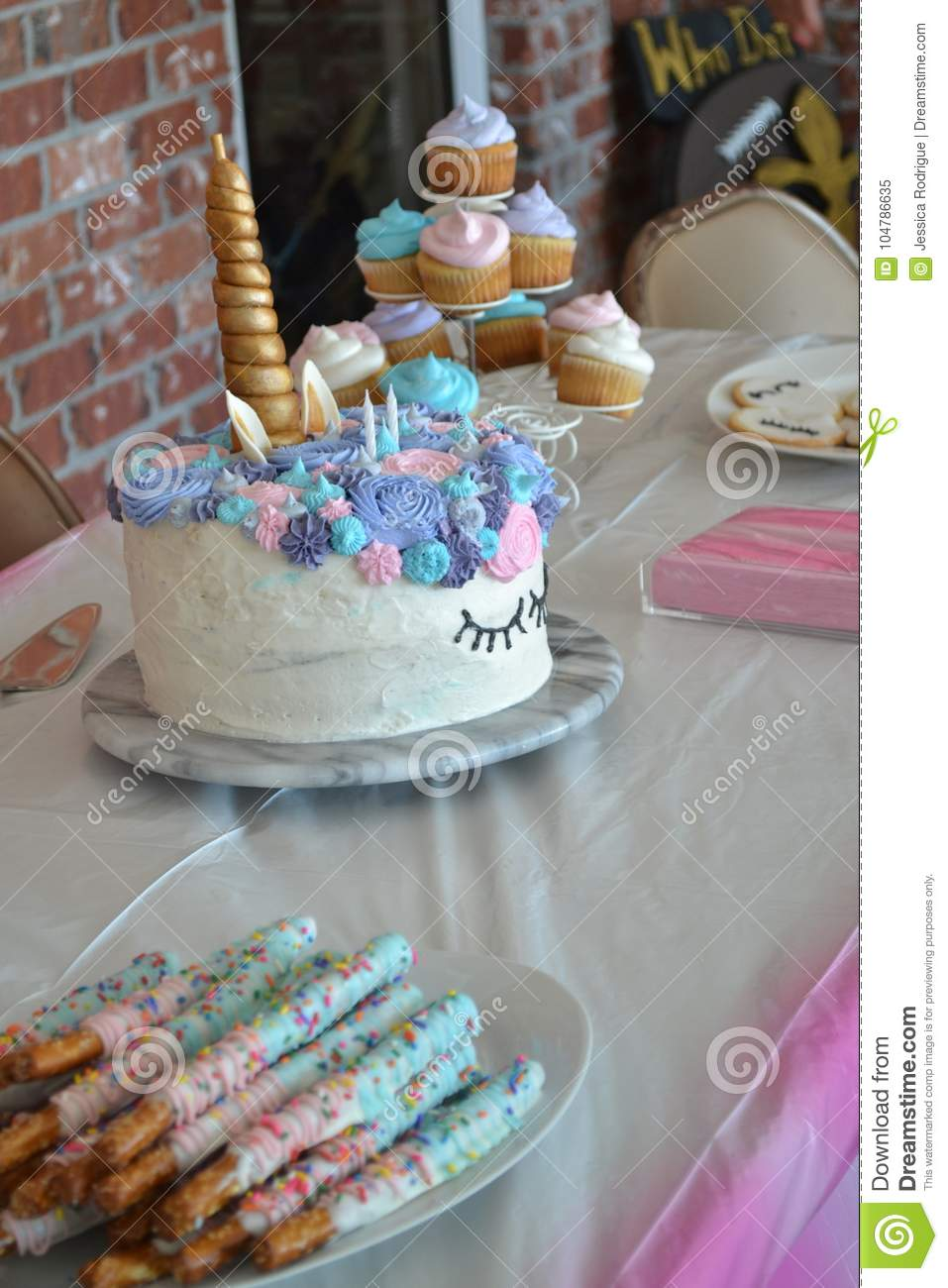 Unicorn Birthday Cake Stock Image Of Macaroons