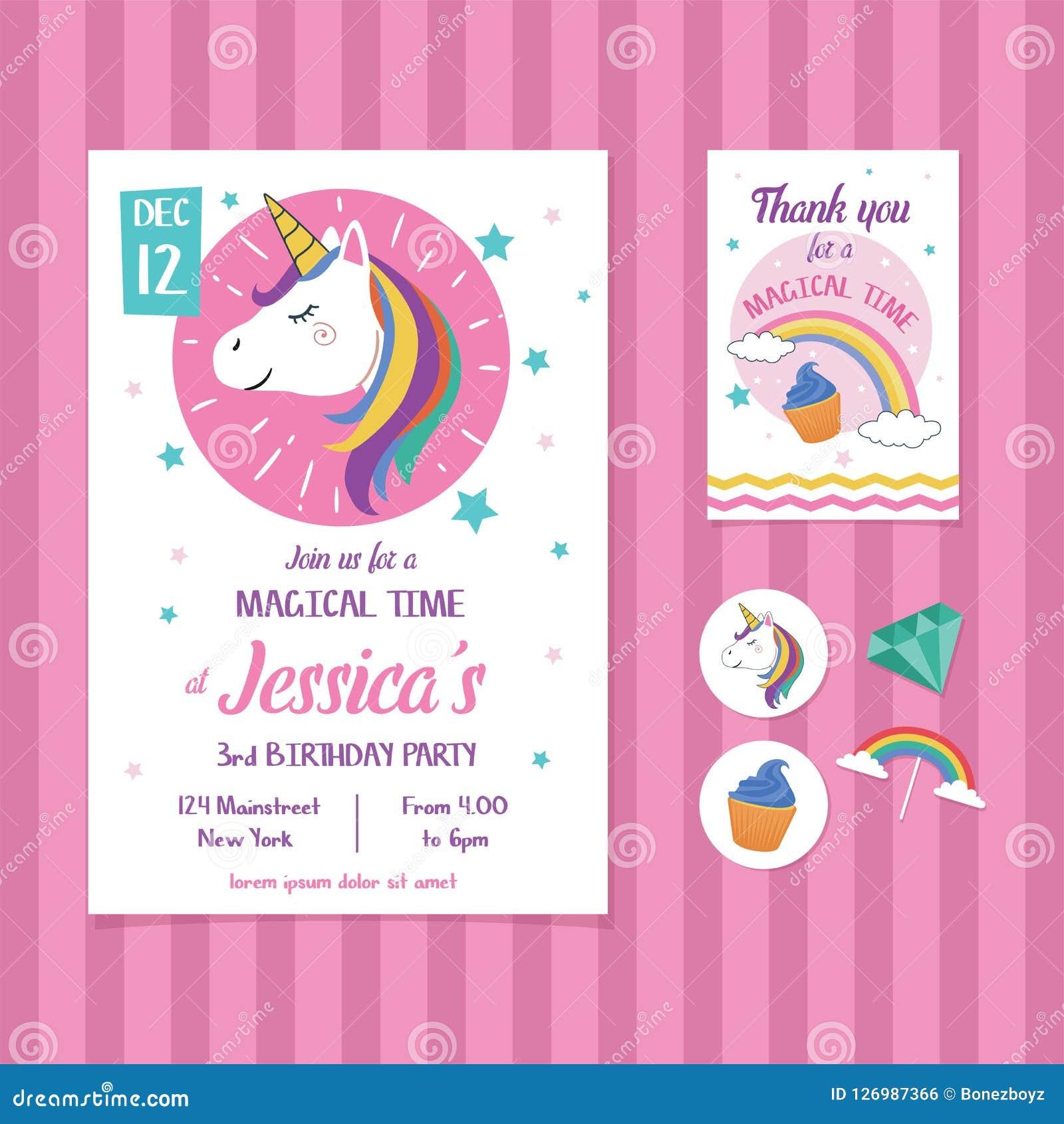 Unicorn Birthday Invitation Card Template Con Unicorn Head