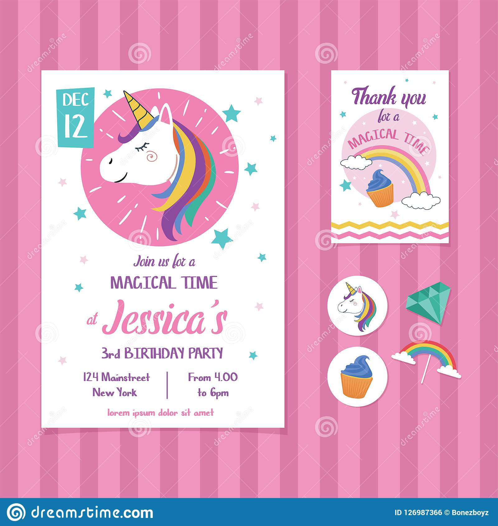 Unicorn Birthday Invitation Card Template With Unicorn Head