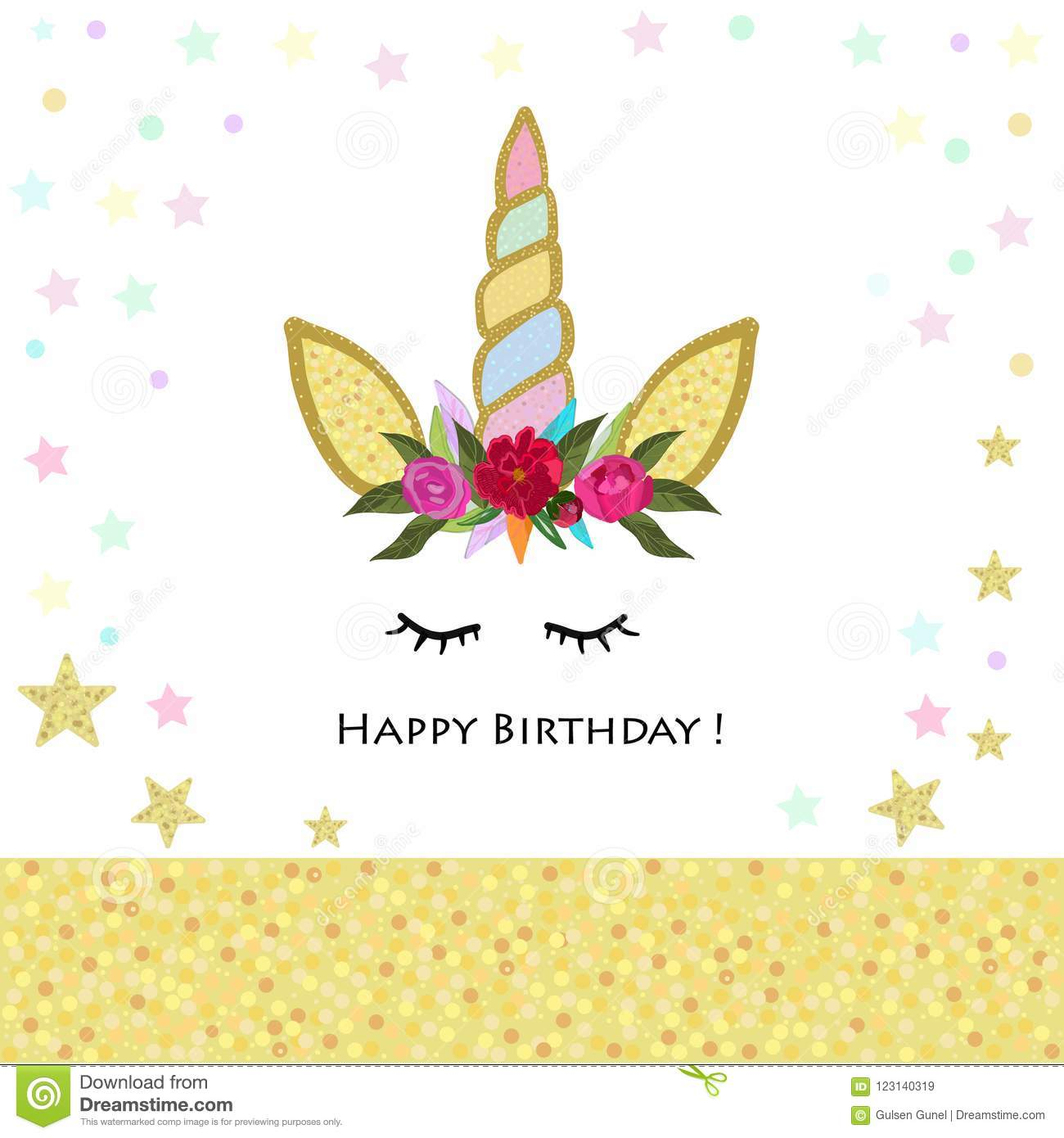 Unicorn Birthday Invitation. Magical Unicorn Birthday Party Shining ...