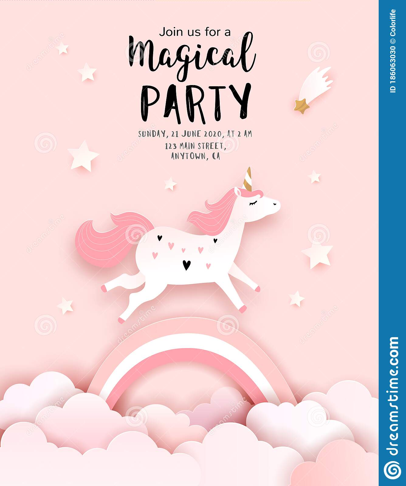 Unicorn Birthday Invitation Template Stock Illustrations – 3,032
