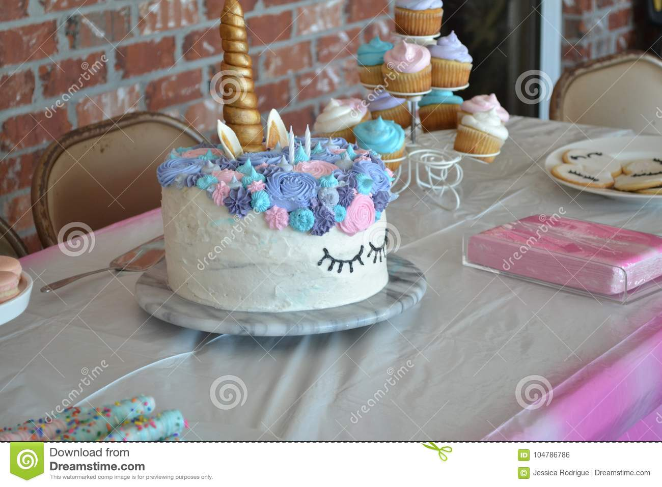 Unicorn Birthday Cake Stock Photo Image Of Purple Pretzel