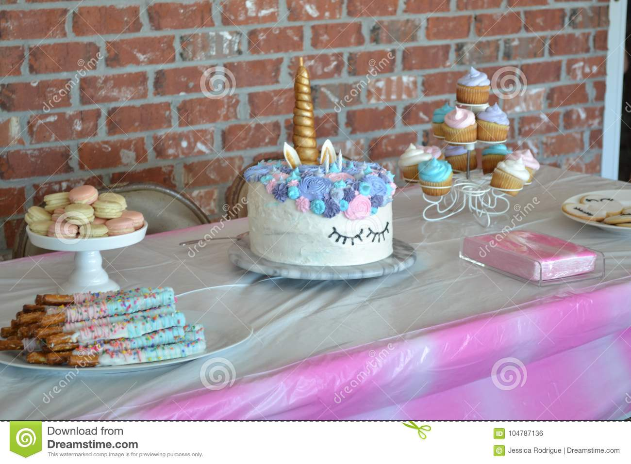 Unicorn Birthday Cake Stock Photo Image Of Sticks