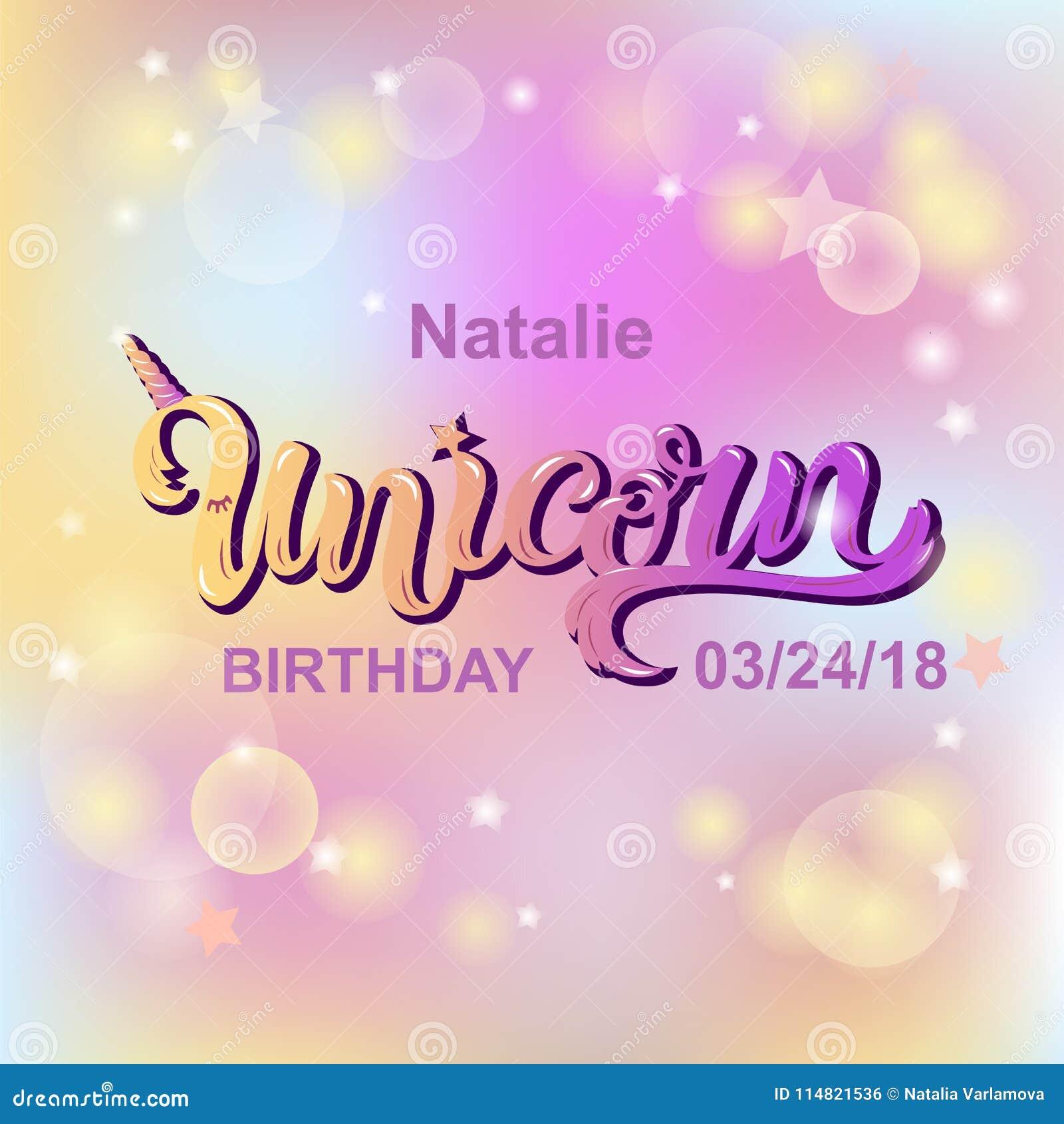 unicorn birthdaytext lokalisiert auf pastell farbigem