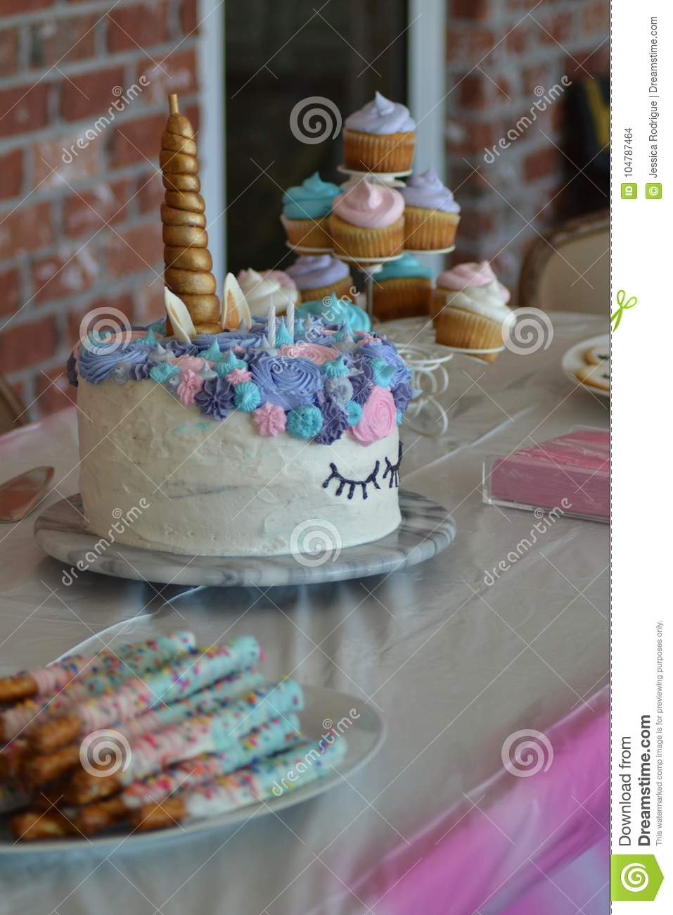 Blue Pink And Purple Unicorn Birthday Cake